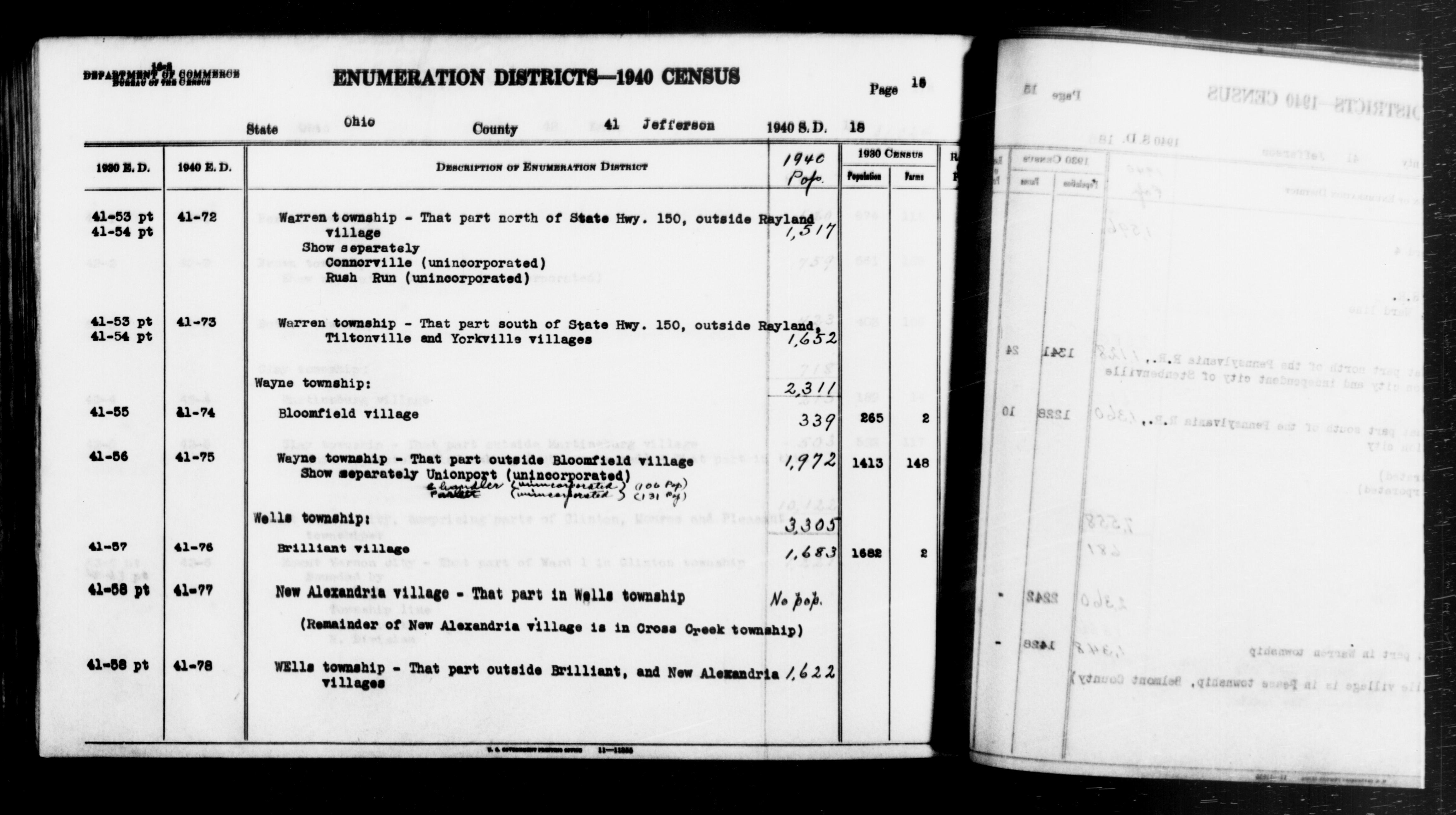 1940 Census Enumeration District Descriptions - Ohio - Jefferson County - ED 41-72, ED 41-73, ED 41-74, ED 41-75, ED 41-76, ED 41-77, ED 41-78