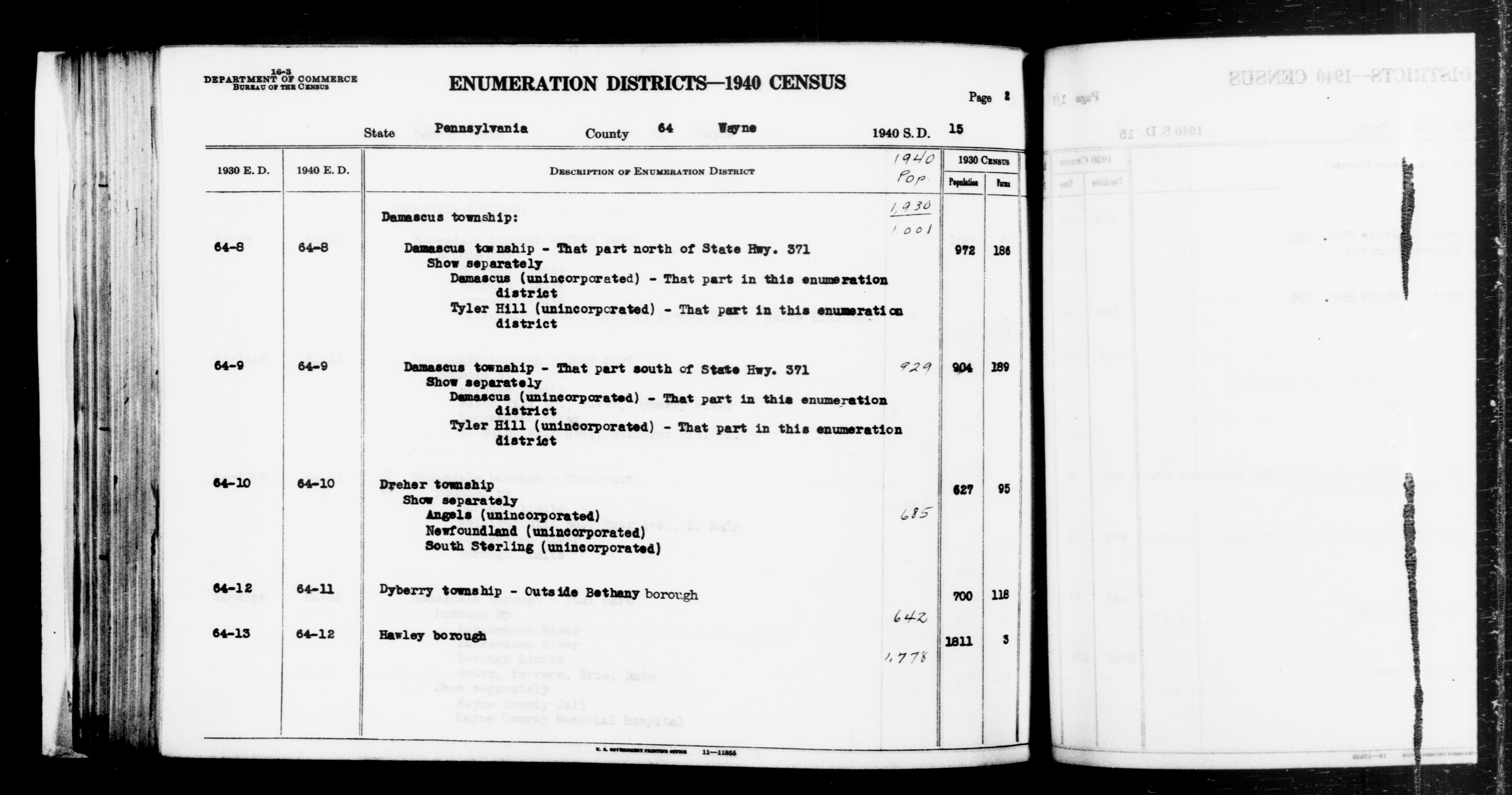 1940 Census Enumeration District Descriptions - Pennsylvania - Wayne County - ED 64-8, ED 64-9, ED 64-10, ED 64-11, ED 64-12