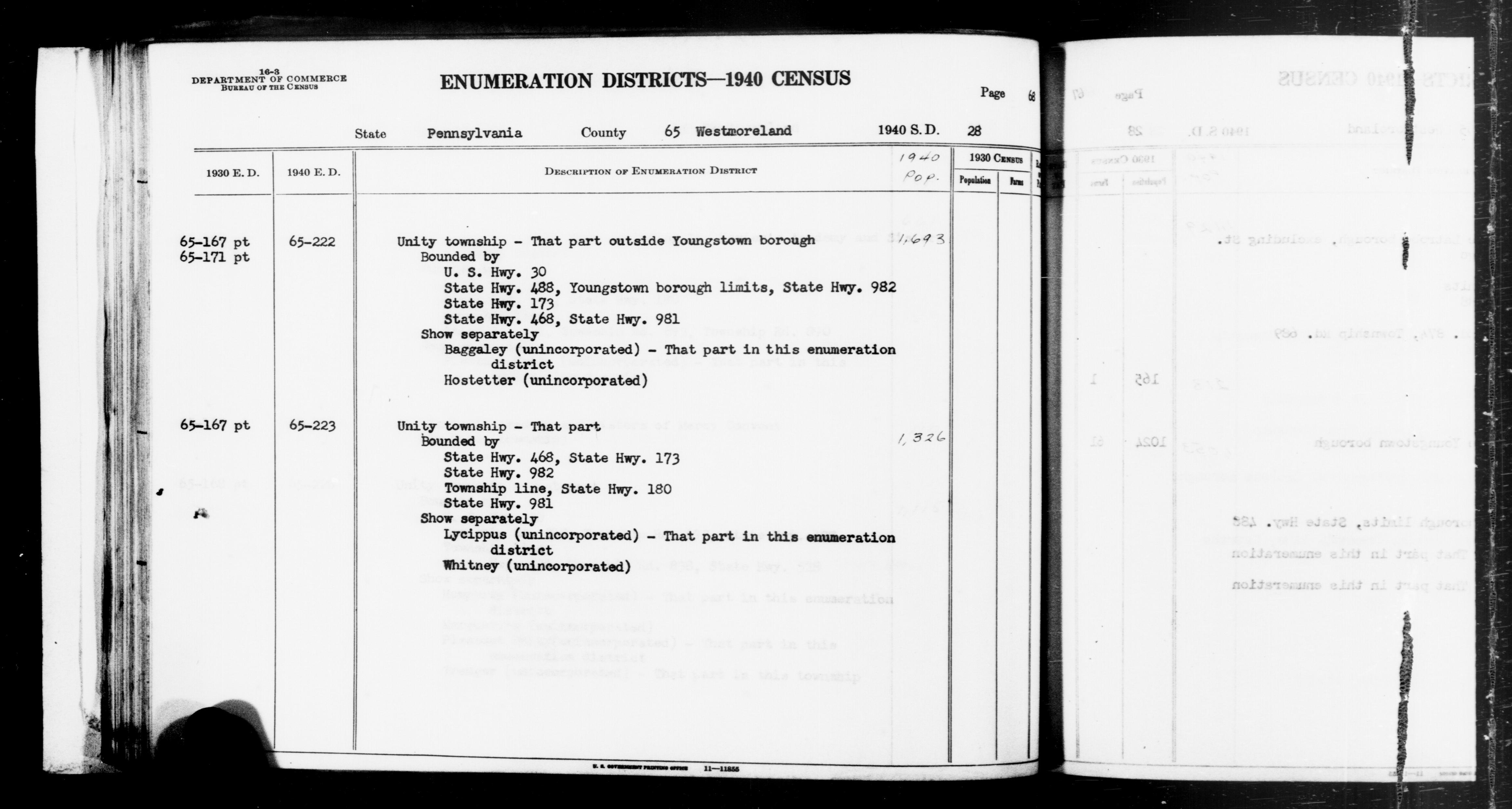 1940 Census Enumeration District Descriptions - Pennsylvania - Westmoreland County - ED 65-222, ED 65-223