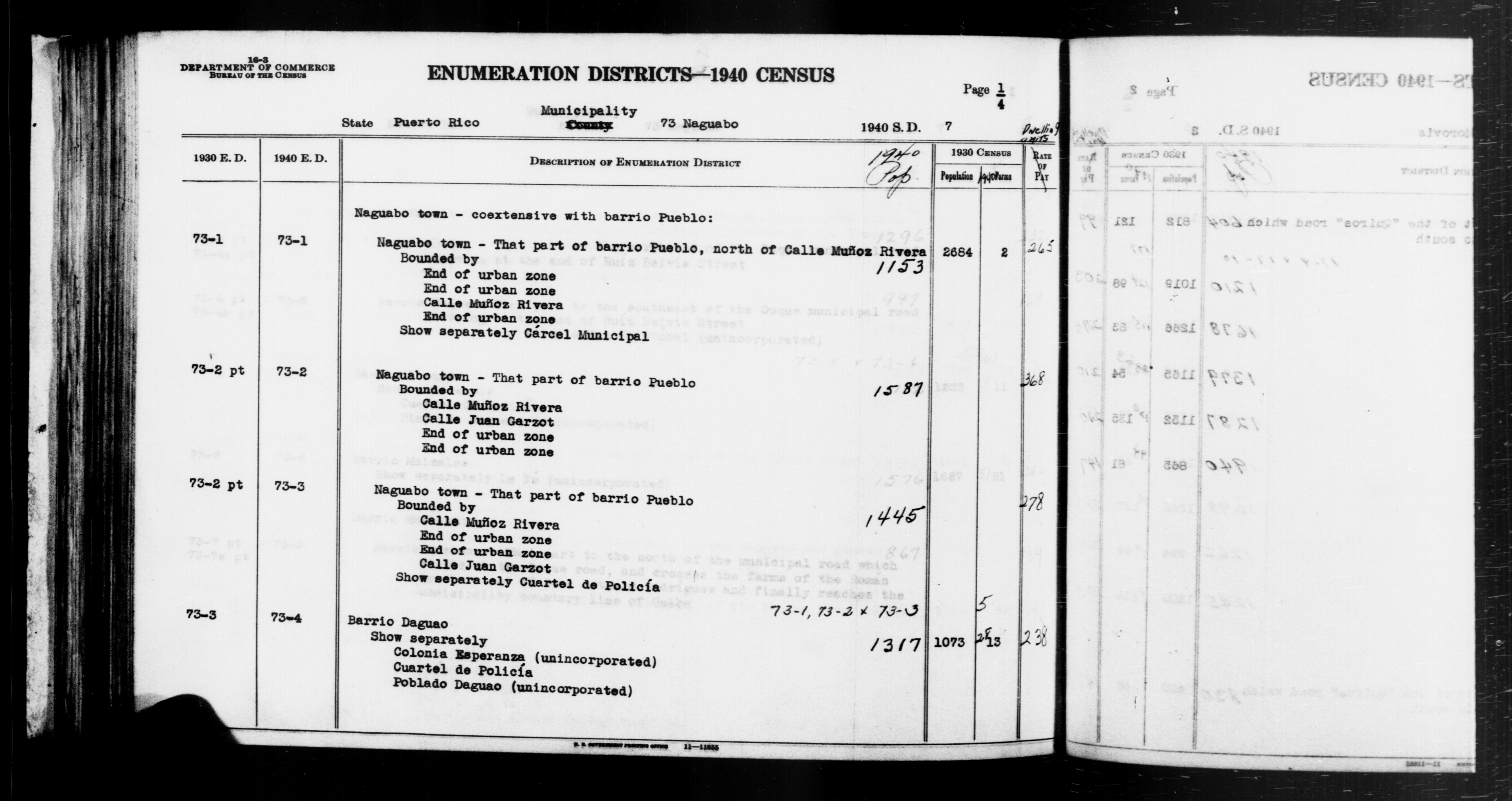 1940 Census Enumeration District Descriptions - Puerto Rico - Naguabo County - ED 73-1, ED 73-2, ED 73-3, ED 73-4