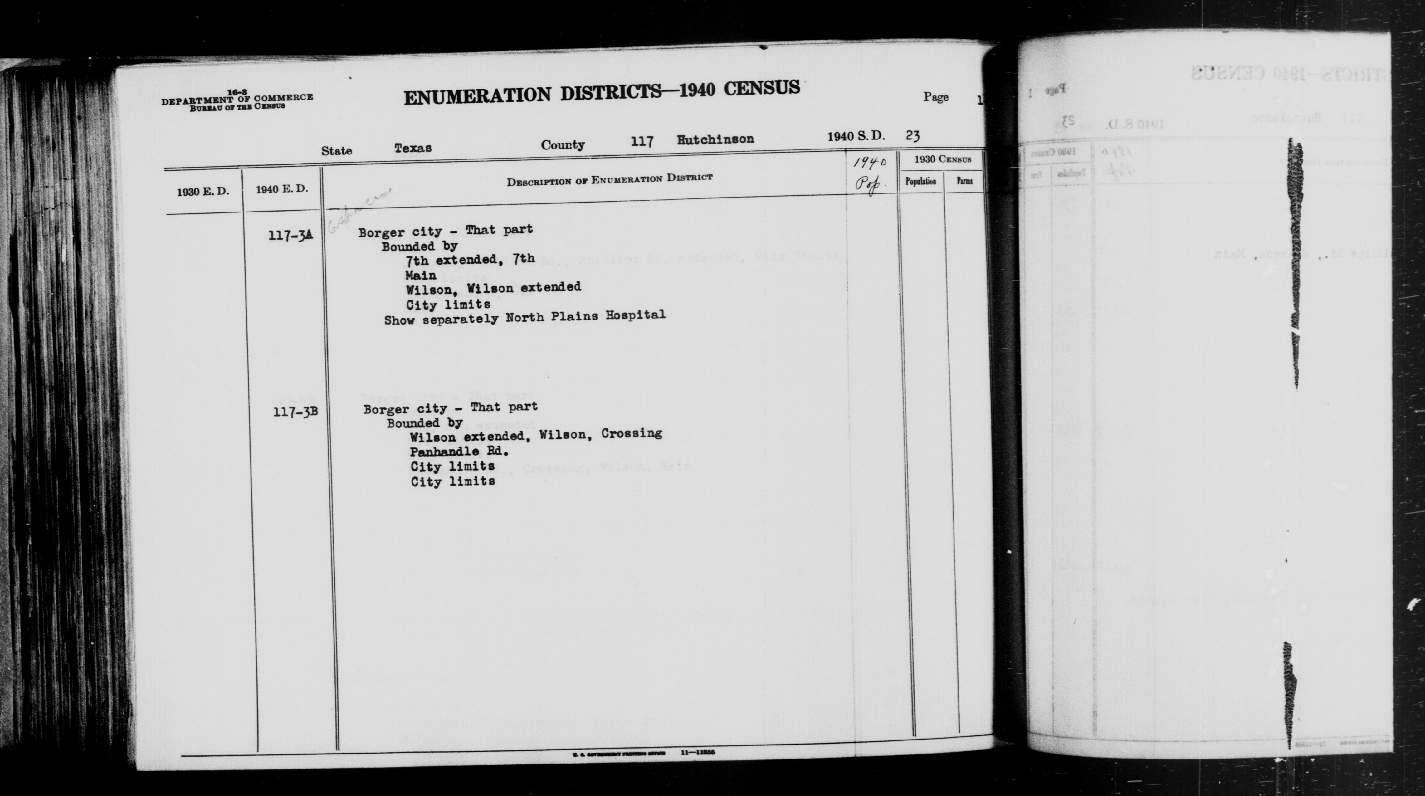 1940 Census Enumeration District Descriptions - Texas - Hutchinson County - ED 117-3A, ED 117-3B
