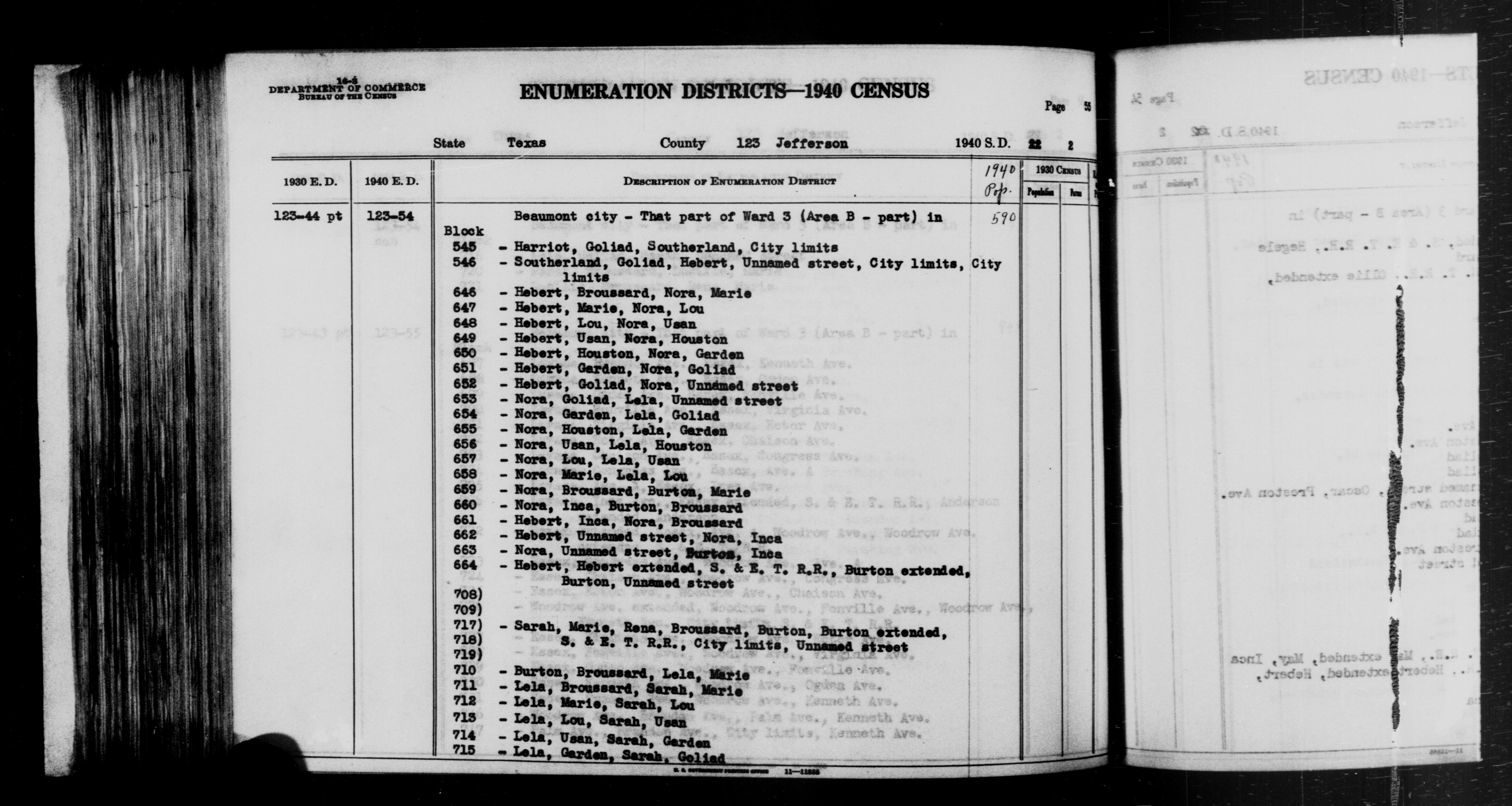 1940 Census Enumeration District Descriptions - Texas - Jefferson County - ED 123-54