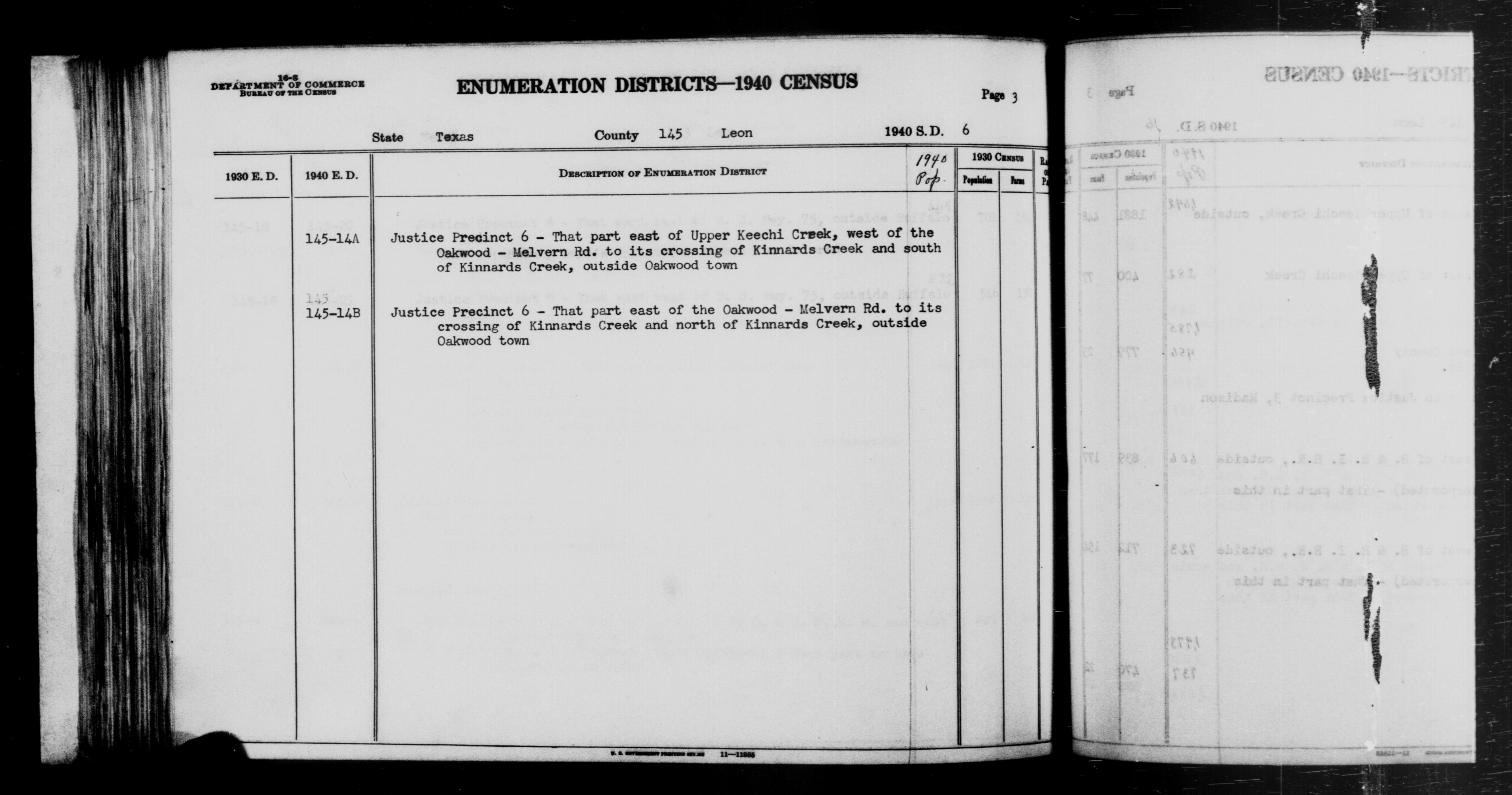 1940 Census Enumeration District Descriptions - Texas - Leon County - ED 145-14A, ED 145-14B