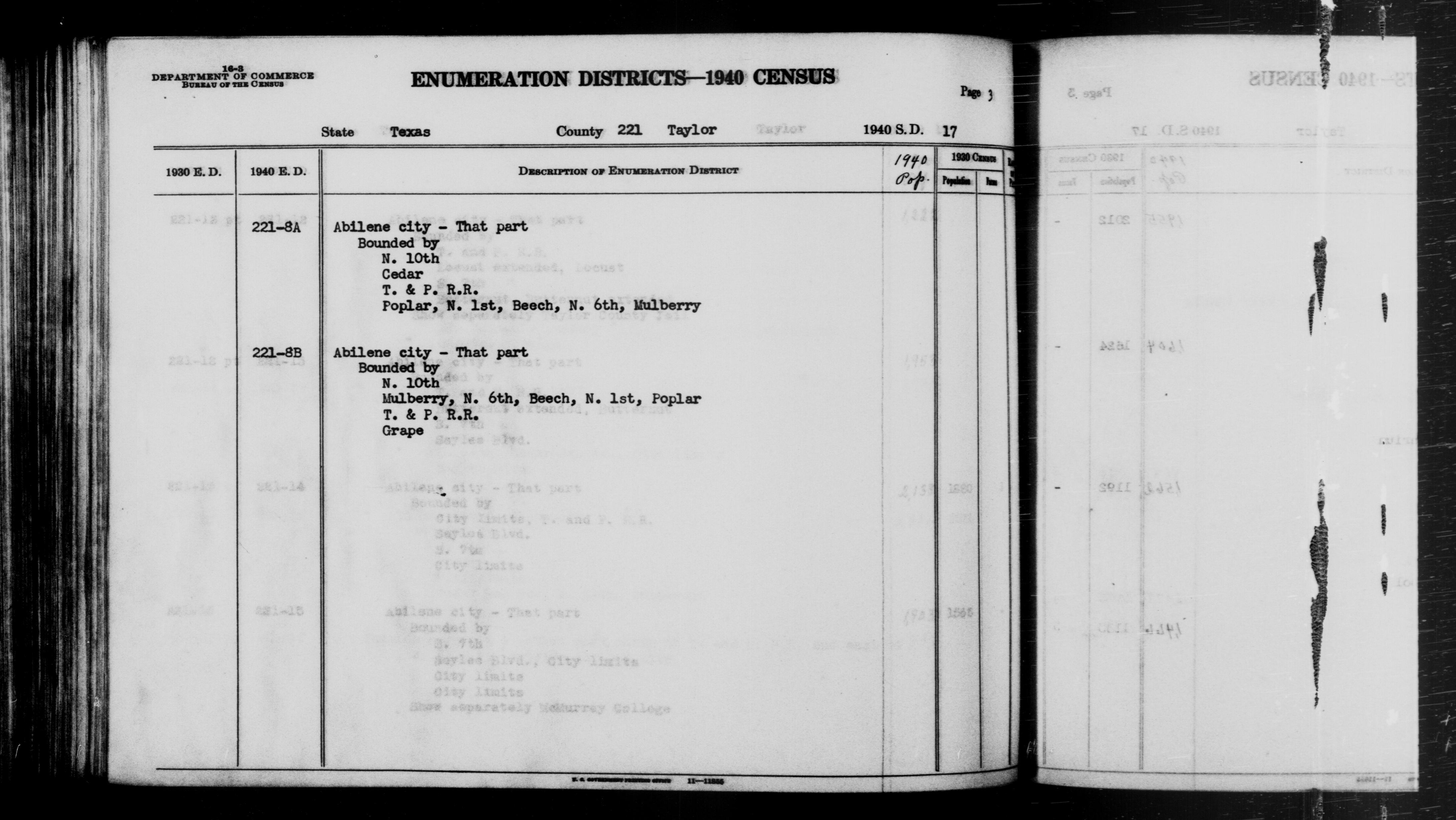 1940 Census Enumeration District Descriptions - Texas - Taylor County - ED 221-8A, ED 221-8B