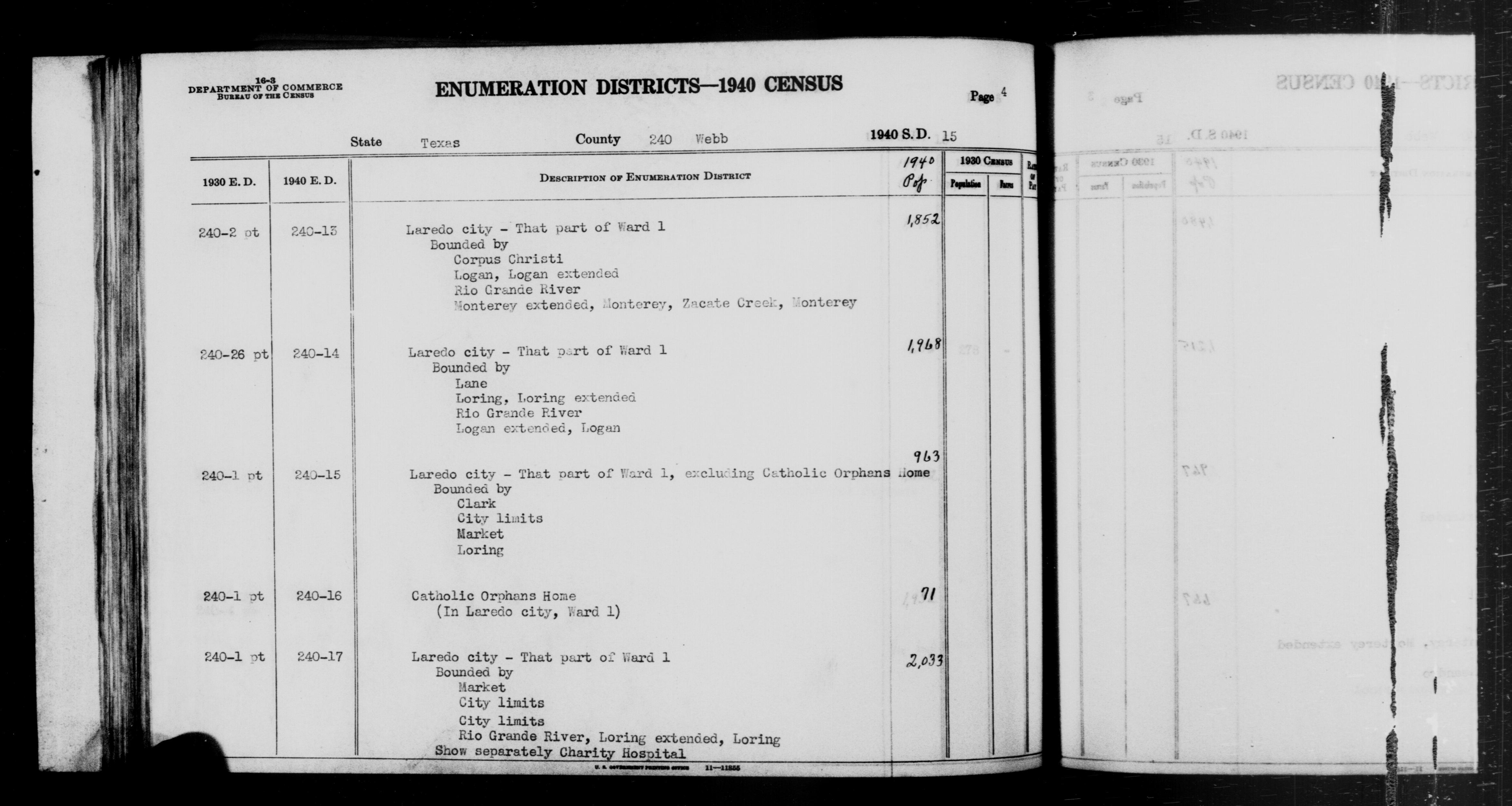 1940 Census Enumeration District Descriptions - Texas - Webb County - ED 240-13, ED 240-14, ED 240-15, ED 240-16, ED 240-17