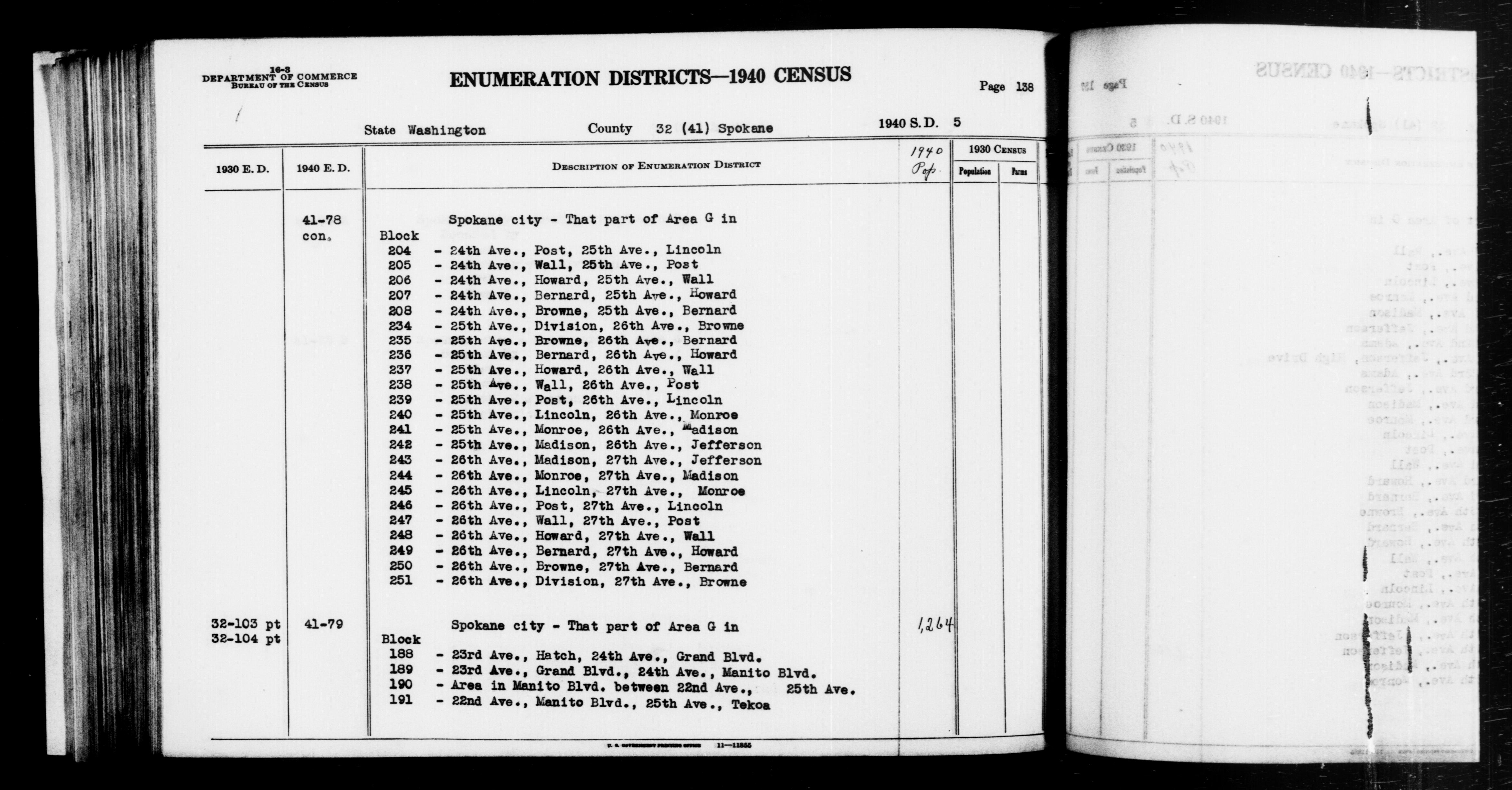 1940 Census Enumeration District Descriptions - Washington - Spokane County - ED 41-78A, ED 41-78B, ED 41-79