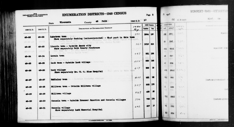 1940 Census Enumeration District Descriptions - Wisconsin - Polk County - ED 48-22, ED 48-23, ED 48-24, ED 48-25, ED 48-26, ED 48-27, ED 48-28, ED 48-29, ED 48-30, ED 48-31
