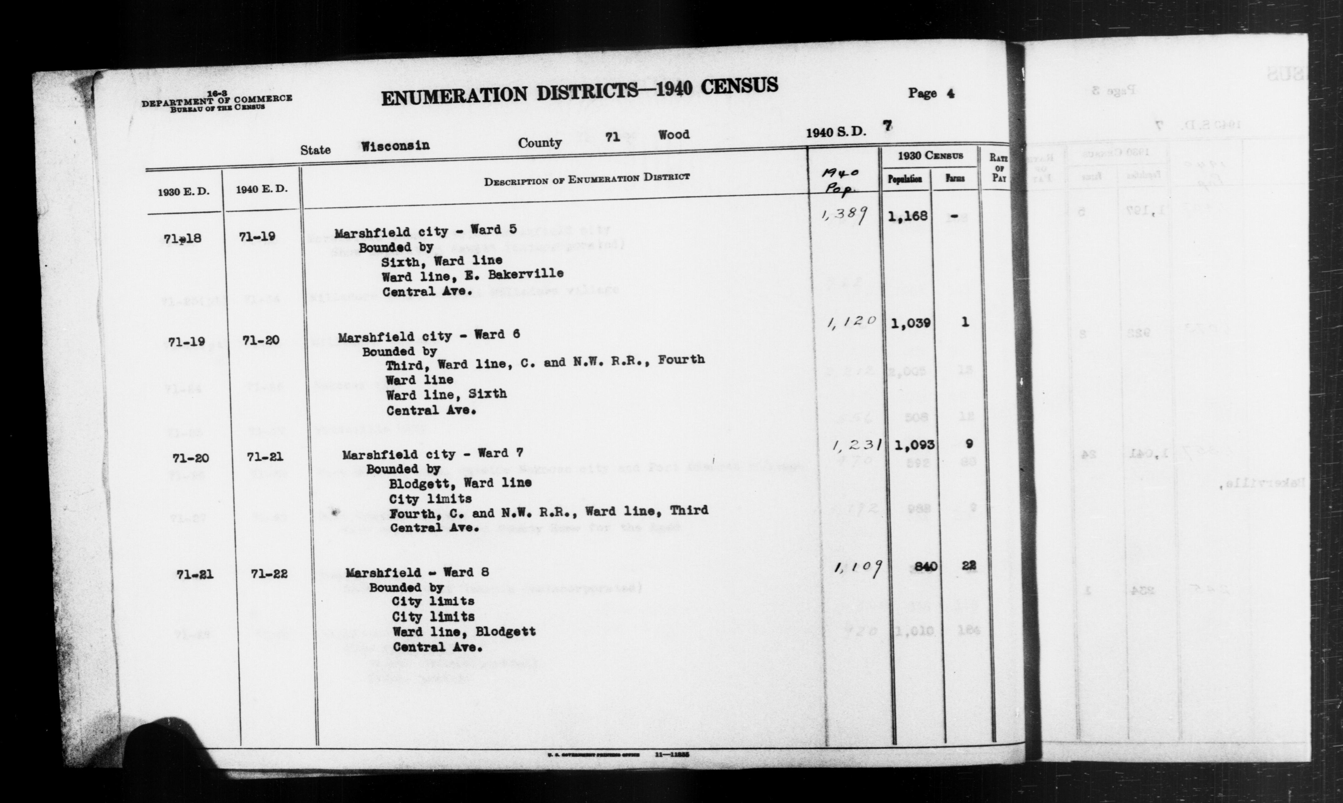 1940 Census Enumeration District Descriptions - Wisconsin - Wood County - ED 71-19, ED 71-20, ED 71-21, ED 71-22