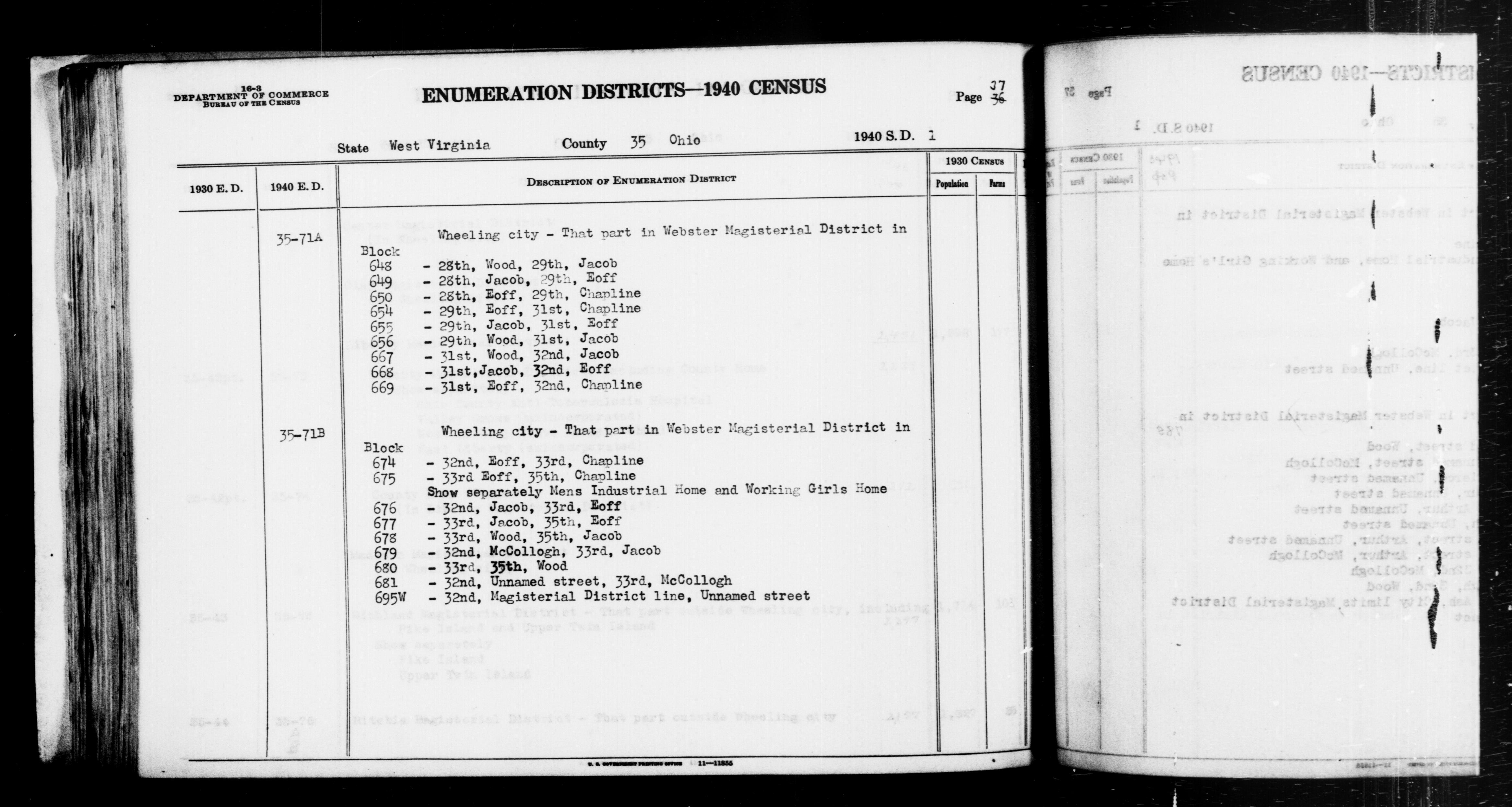 1940 Census Enumeration District Descriptions - West Virginia - Ohio County - ED 35-71A, ED 35-71B