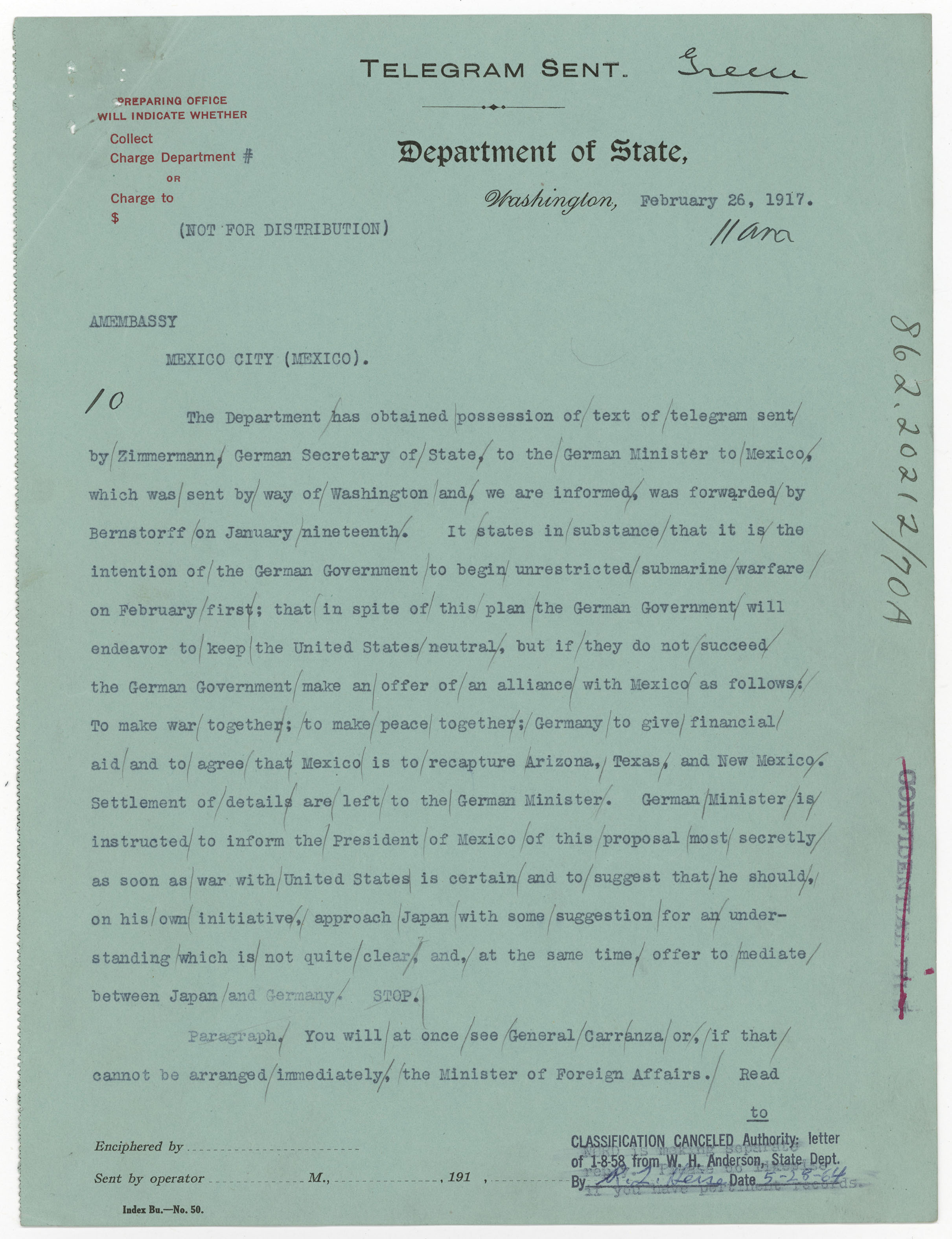 Telegram from Acting Secretary of State Frank L. Polk to the American Embassy in Mexico City, February 26, 1917