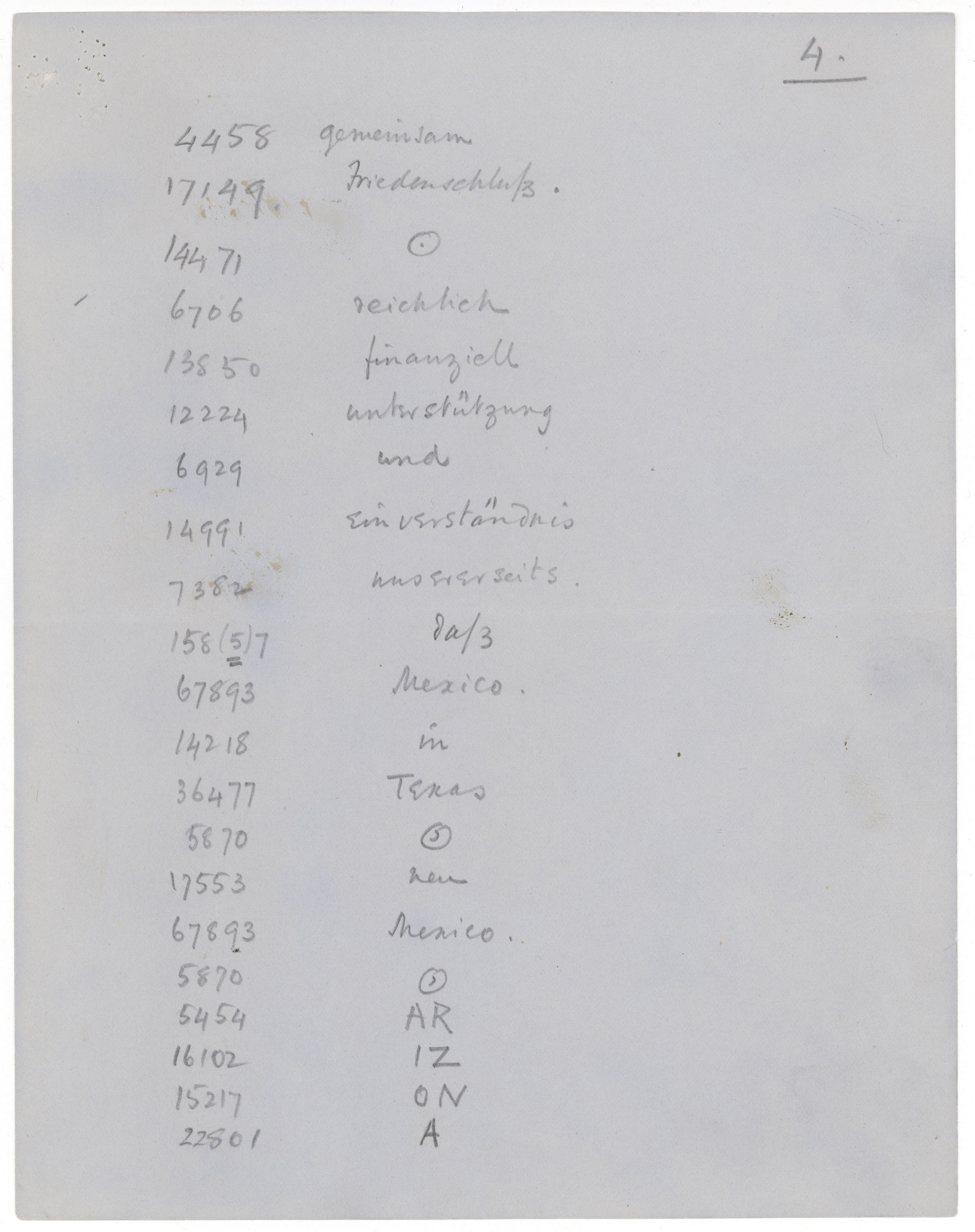Decode of the Zimmermann Telegram made by Edward Bell of the American Embassy in London, sent to the State Department, March 2, 1917, selected page