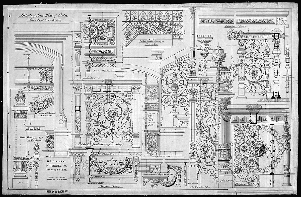 Details of ironwork of stairs of the U.S. Courthouse and Post Office, Pittsburgh, Pennsylvania, 1890