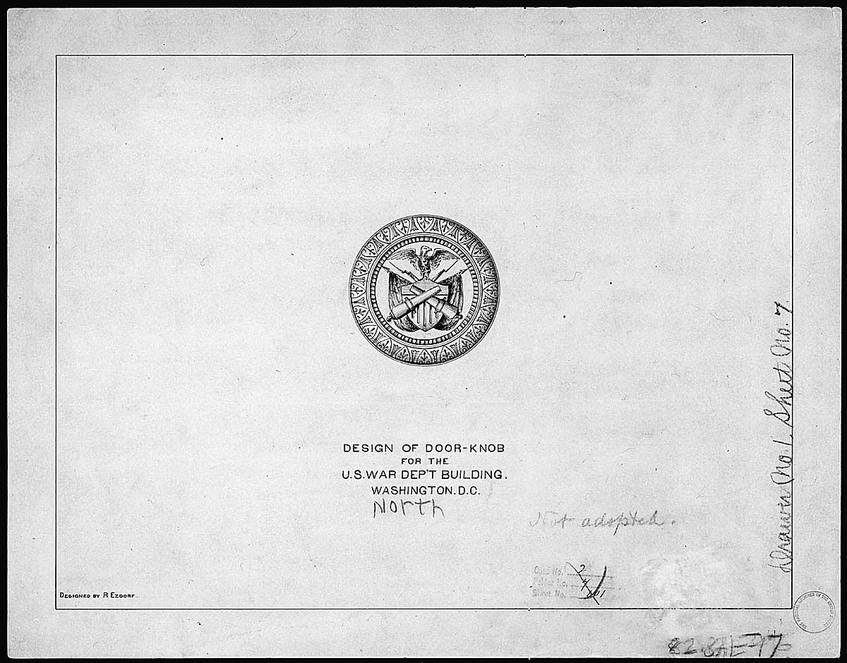 Design of doorknob for the U.S. War Department Building