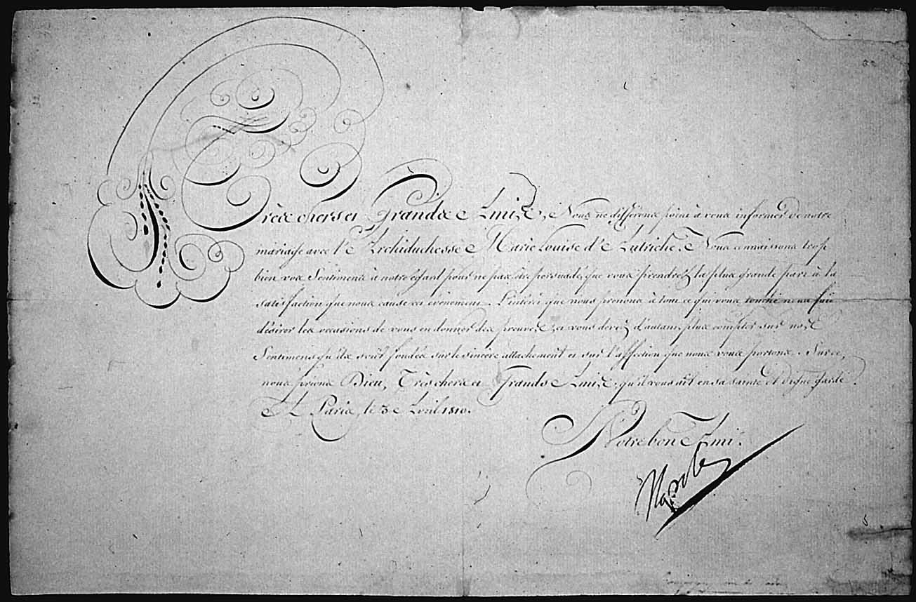Marriage announcement of Napoleon, Emperor of France, to Archduchess Marie-Louise of Austria, April 3, 1810, received by President Madison