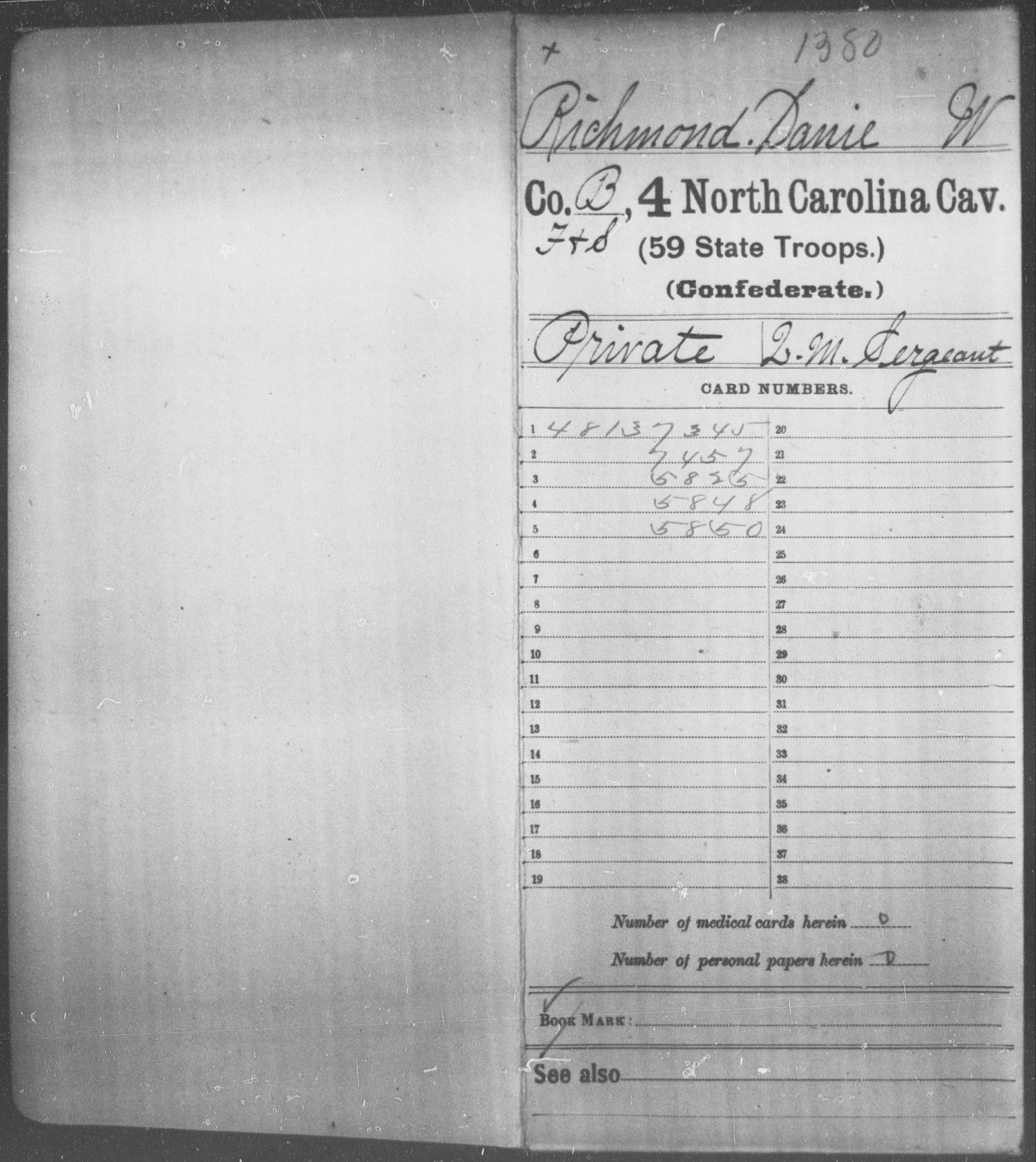Richmond, Danie W - Fourth Cavalry (59th State Troops)