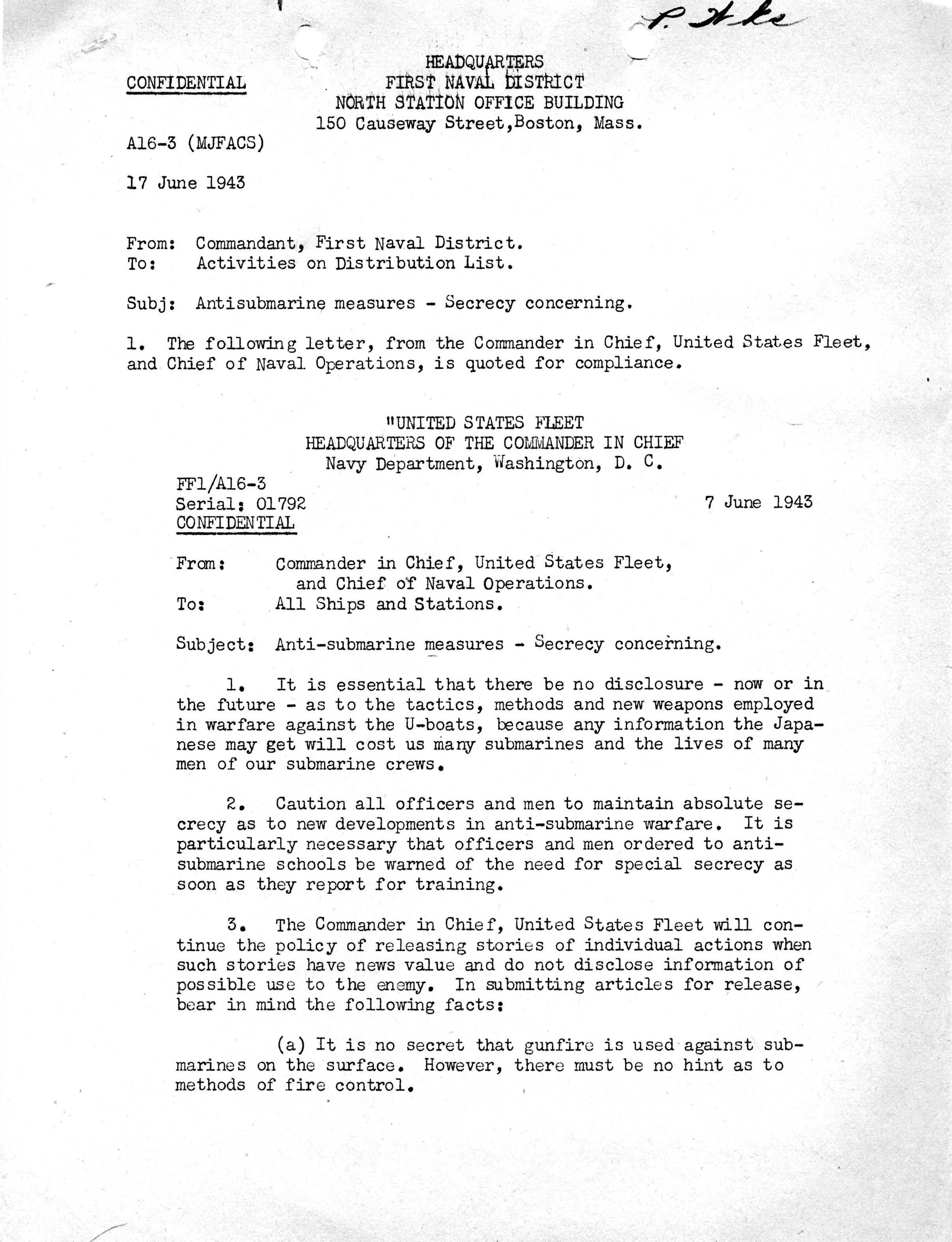 Letter Concerning Secrecy of Anti-Submarine Warfare Developments