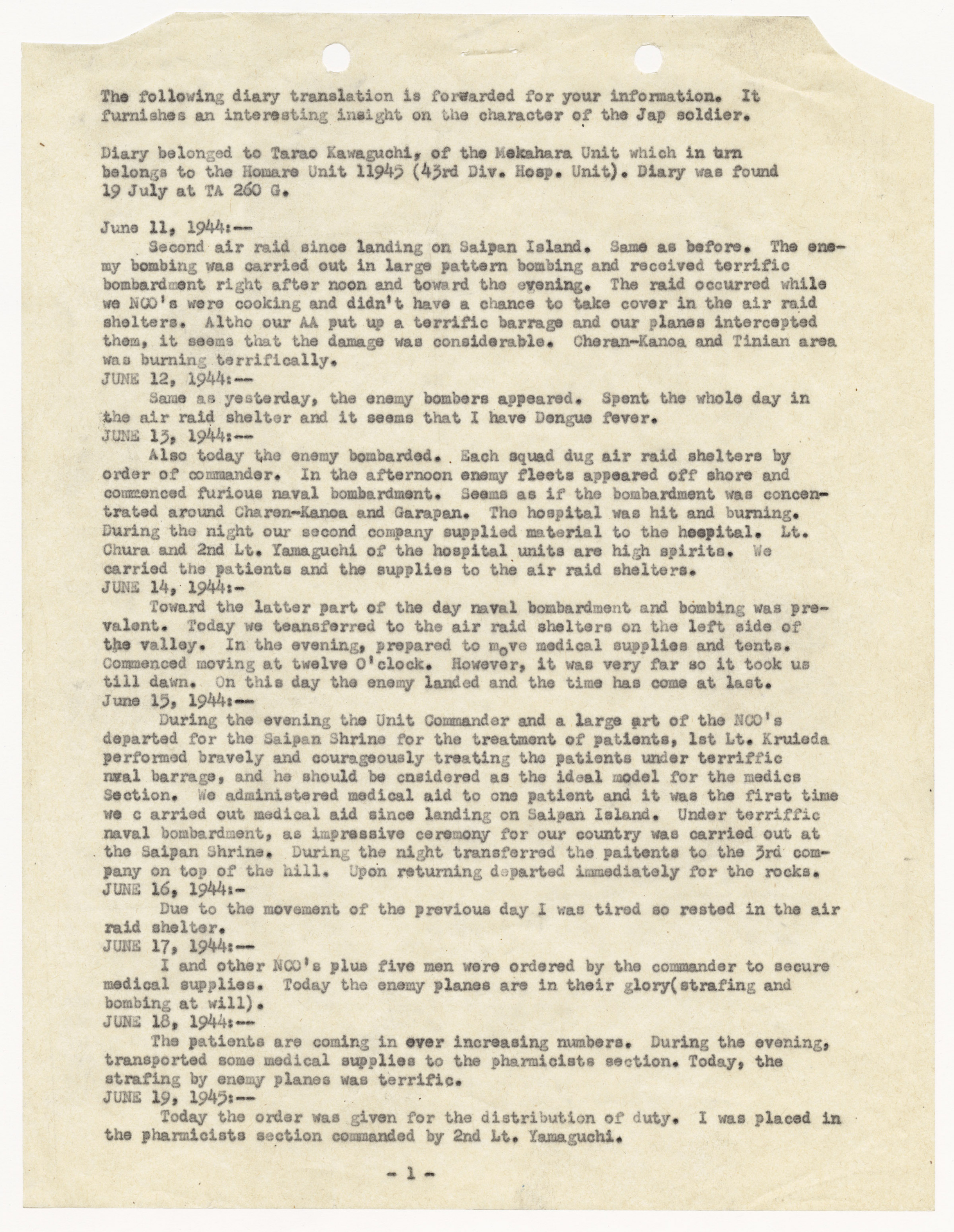 Translation of the Diary of Japanese Serviceman Taroa Kawaguchi Detailing Combat Activity on Saipan