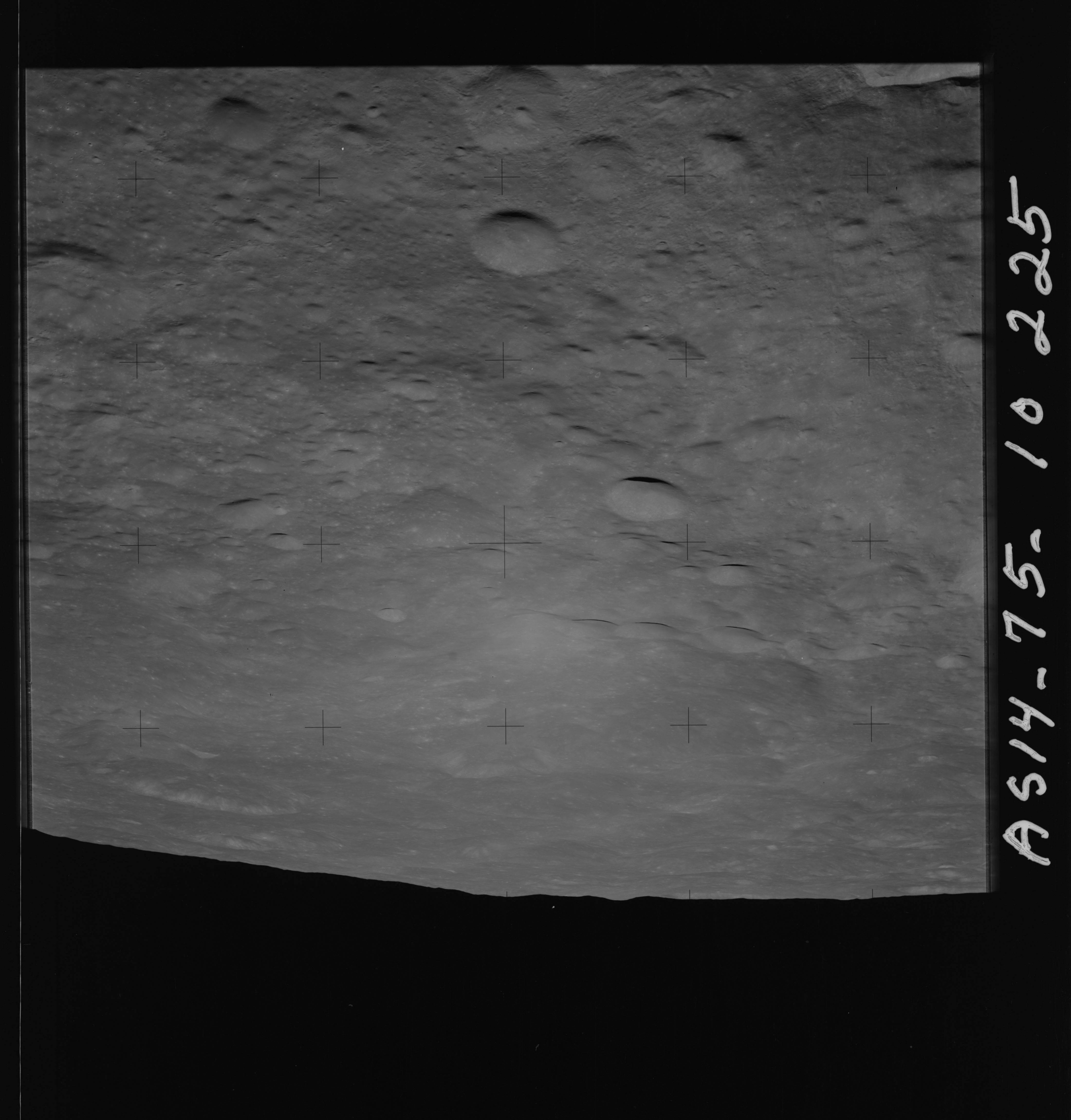 AS14-75-10225 - Apollo 14 - Apollo 14 Mission image - View of the lunar surface looking east towards the Love and Prager 284 Craters.