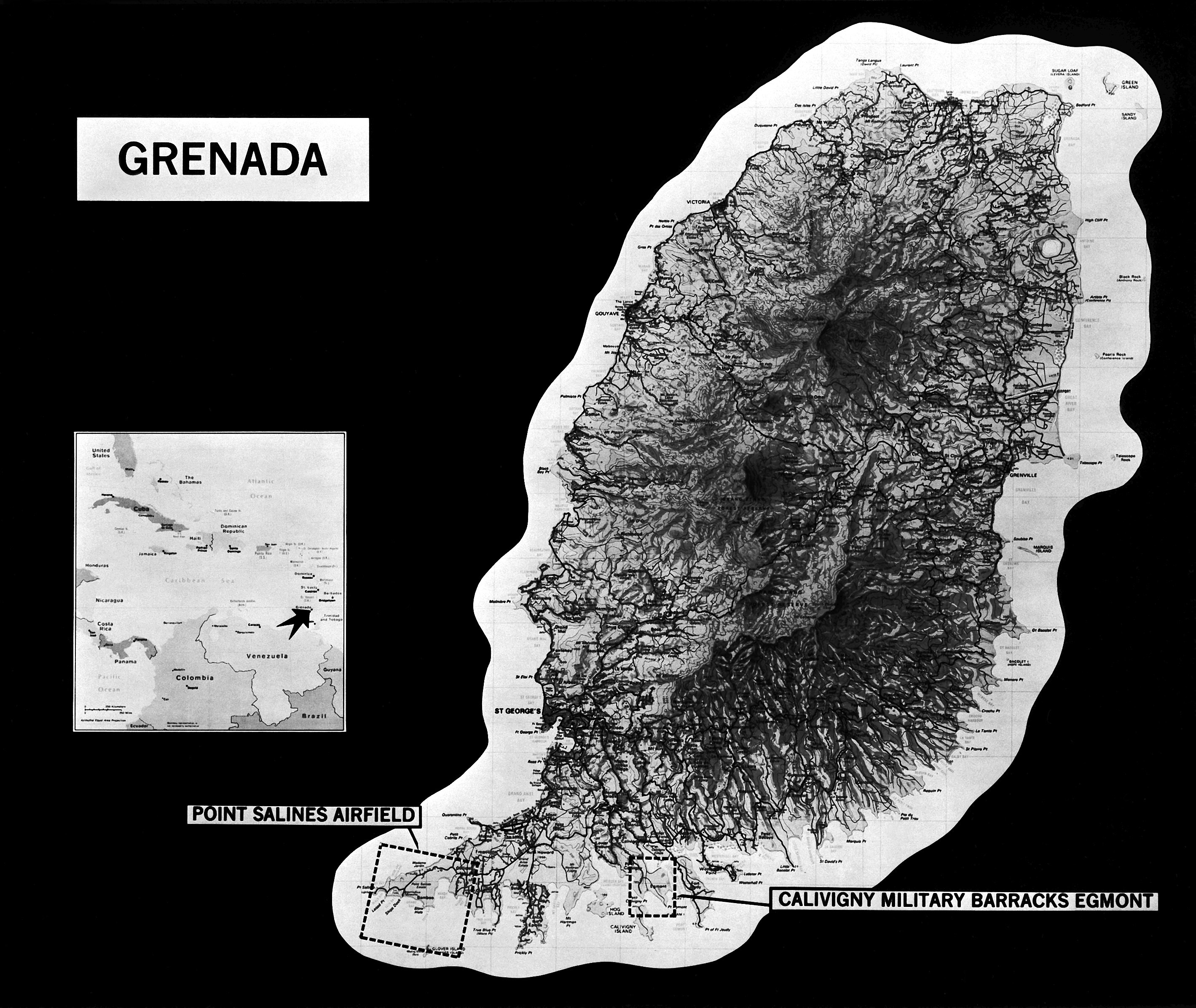 Map of Grenada showing the location of Point Salines Airfield and Calivigny Military Barracks at Egmont
