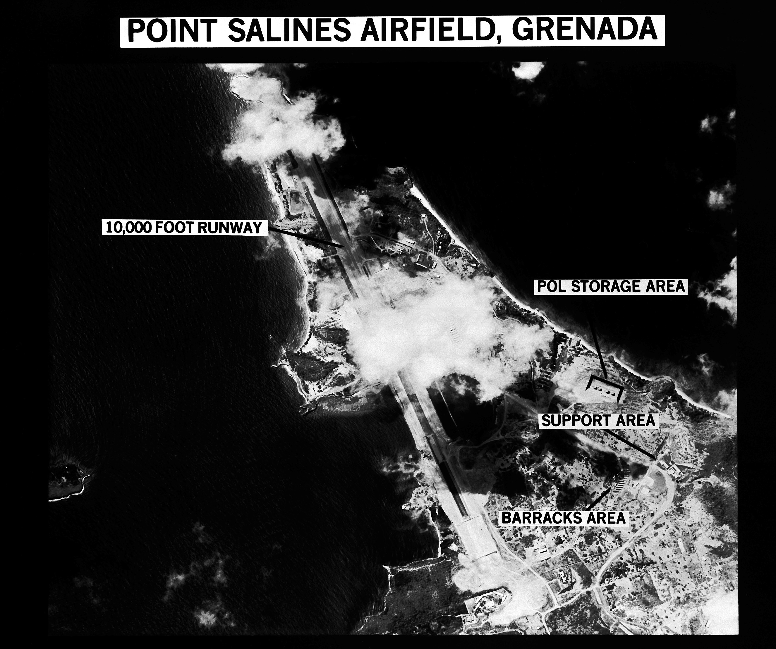 A map of Point Salines Airfield, Grenada, with areas of the base identified