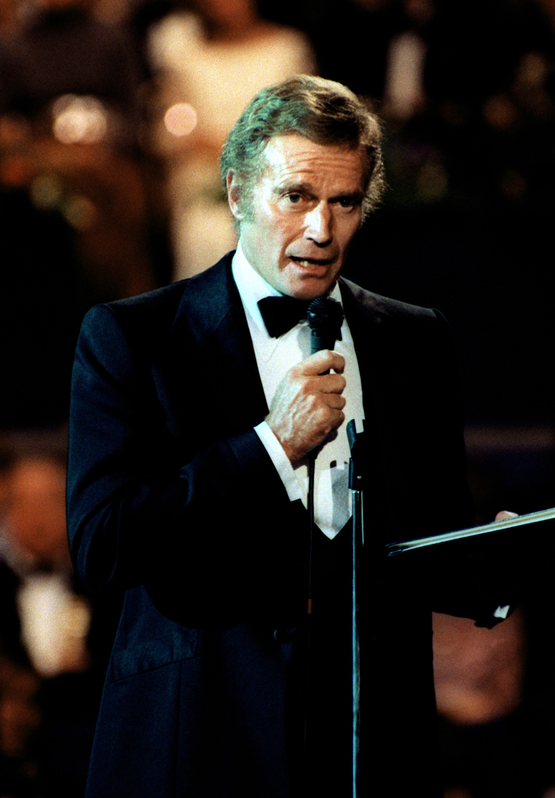 Actor Charlton Heston, president, American Film Institute, addresses the honored guests during the gala celebration at the Capital Center, during Inauguration Day