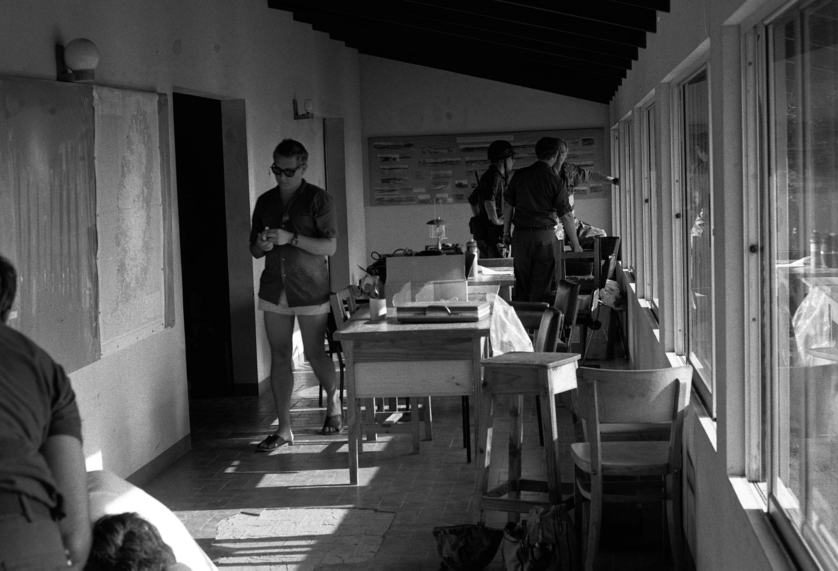 US servicemen in a building near Point Salines Airfield during the multiservice, multinational Operation URGENT FURY
