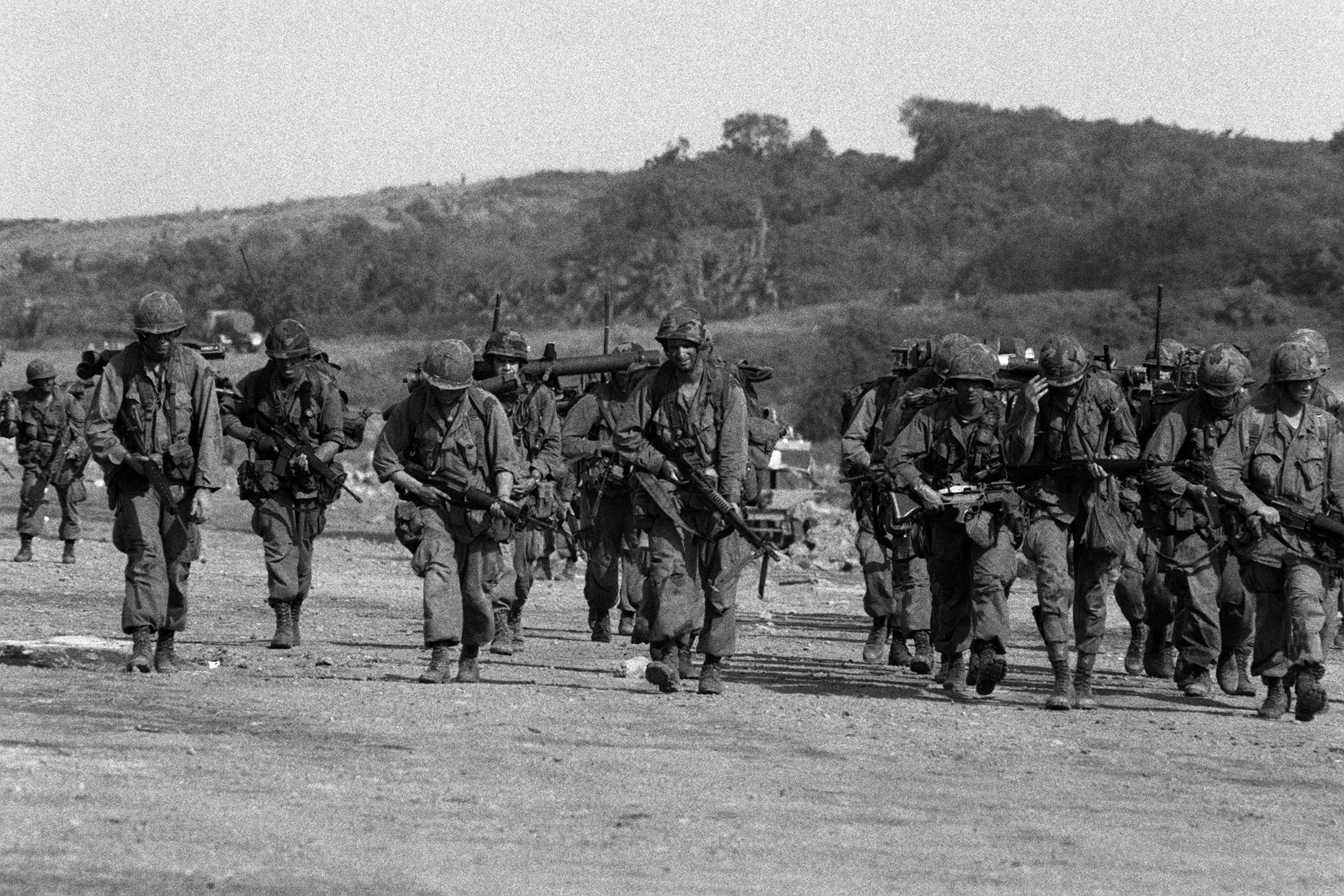 US servicemen at Point Salines Airfield during the multiservice, multinational Operation URGENT FURY