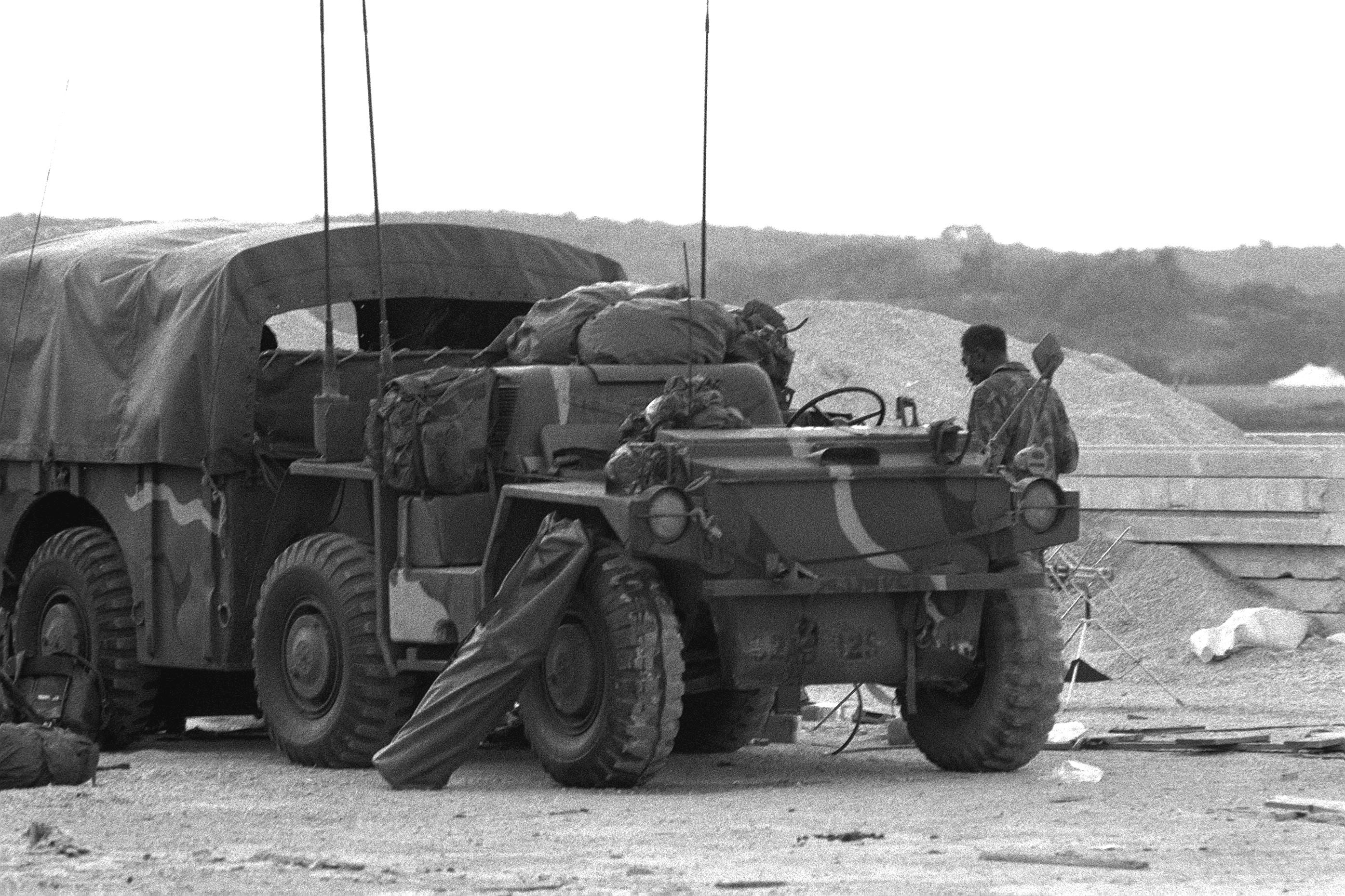 An M561 Gama Goat truck near Point Salines Airfield during the multiservice, multinational Operation URGENT FURY