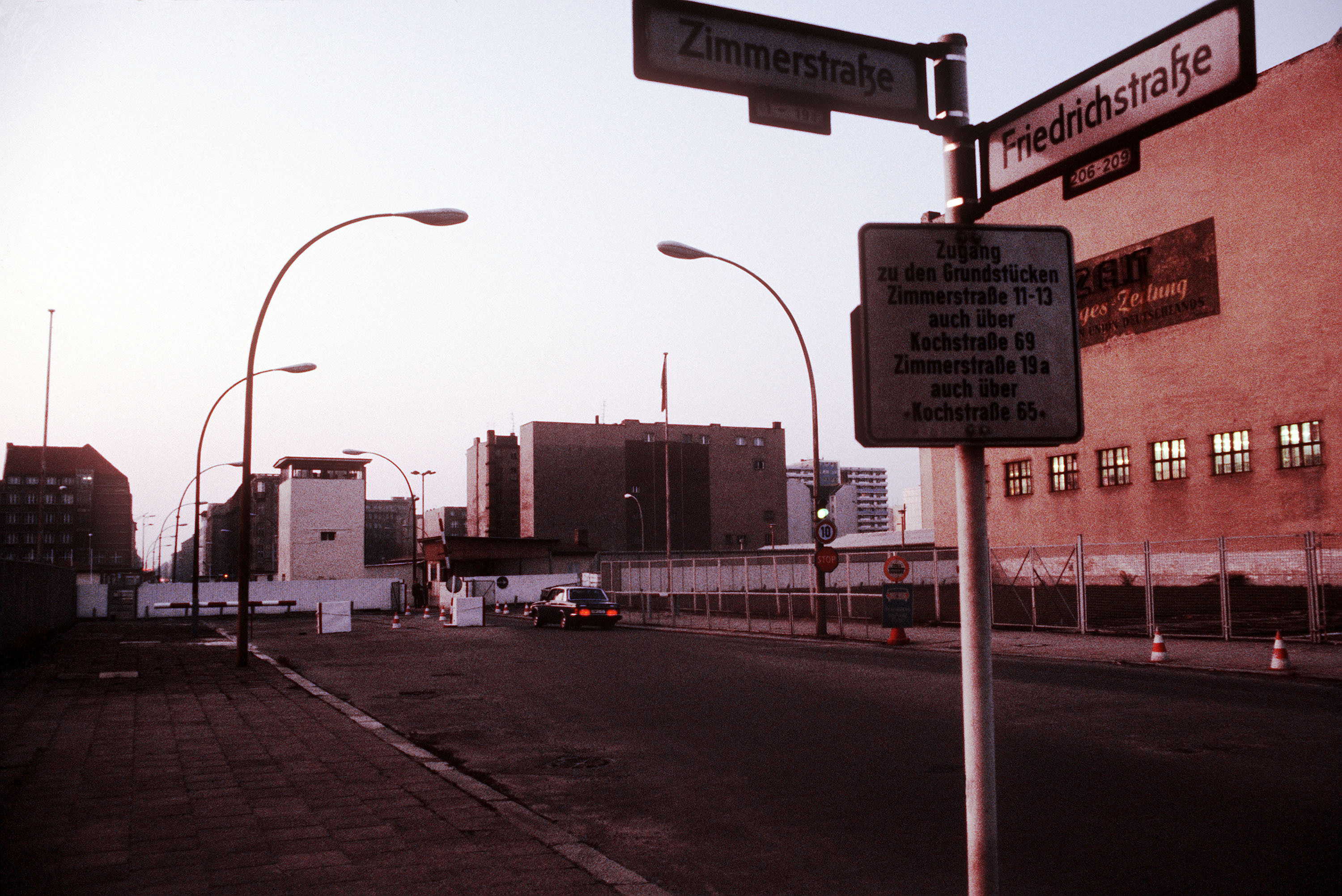 A view of Checkpoint Charlie, the border crossing for diplomats and Allied personnel between East Germany and West Germany