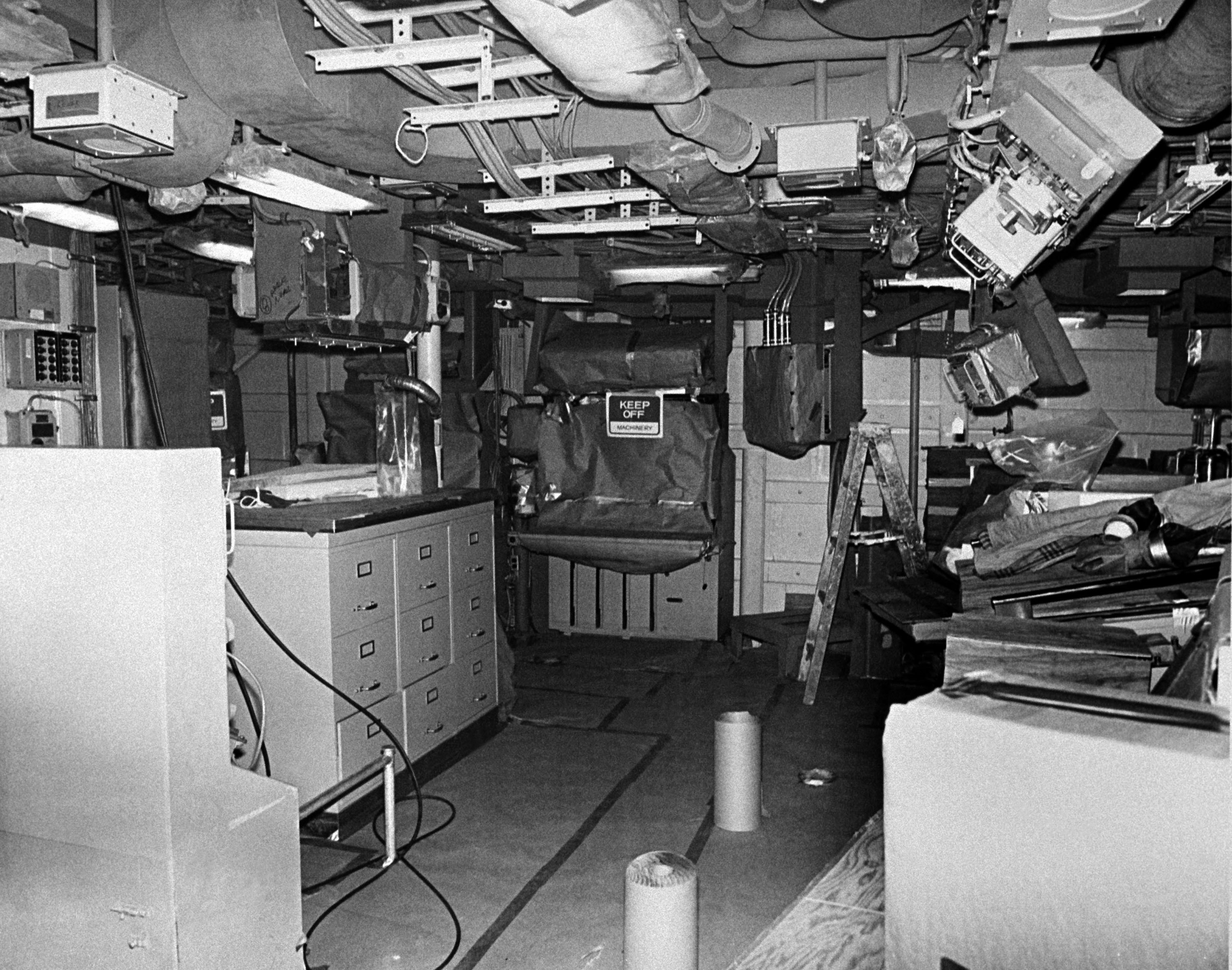 An interior view of the combat information center on the guided missile frigate USS STARK (FFG 31) at 80 percent completion