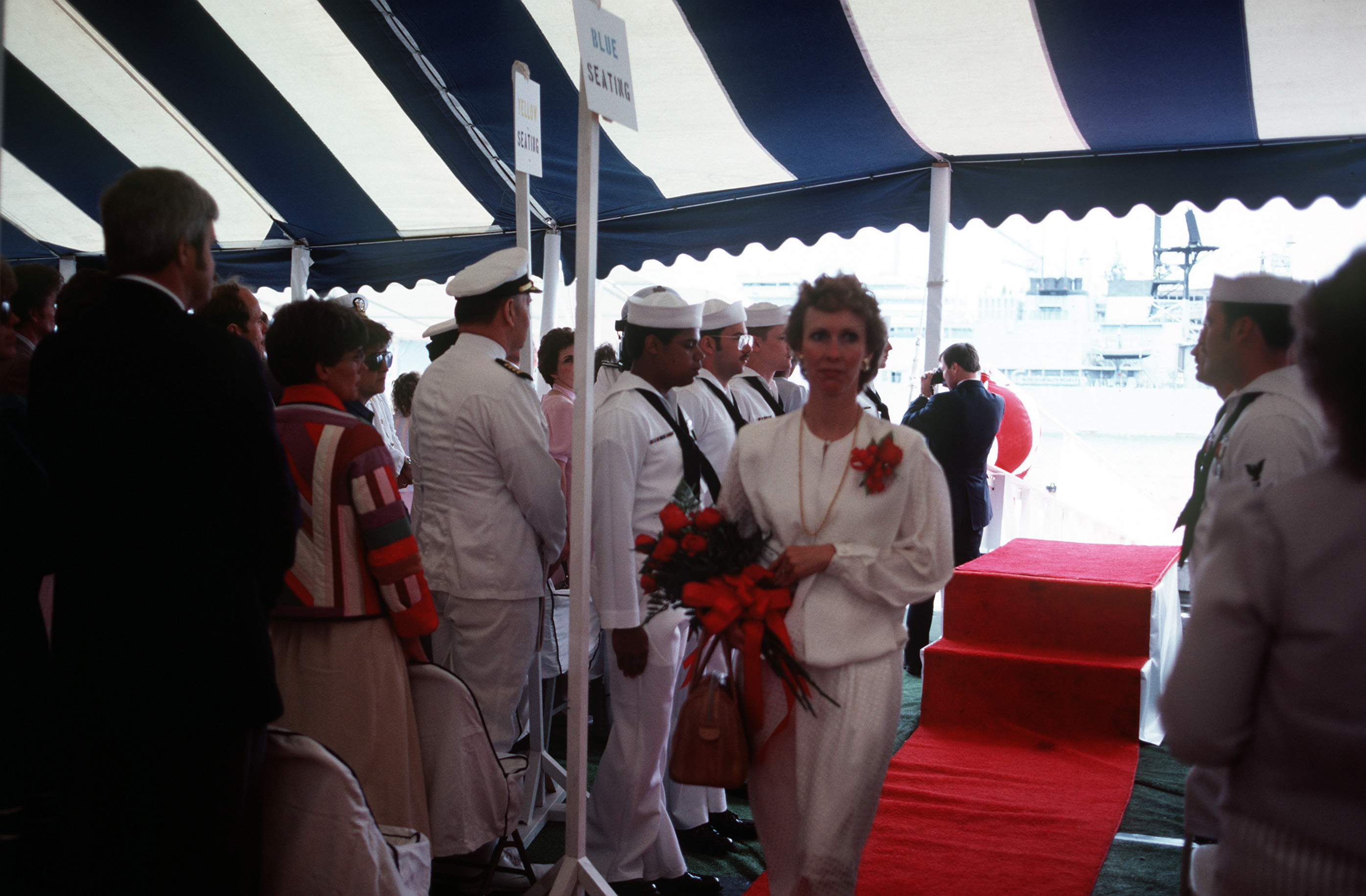 Kathleen Brewerton Garn, sponsor, arrives at the commissioning ceremony for the nuclear-powered attack submarine USS SALT LAKE CITY (SSN 716). She is the wife of Senator Jake Garn, R-Utah