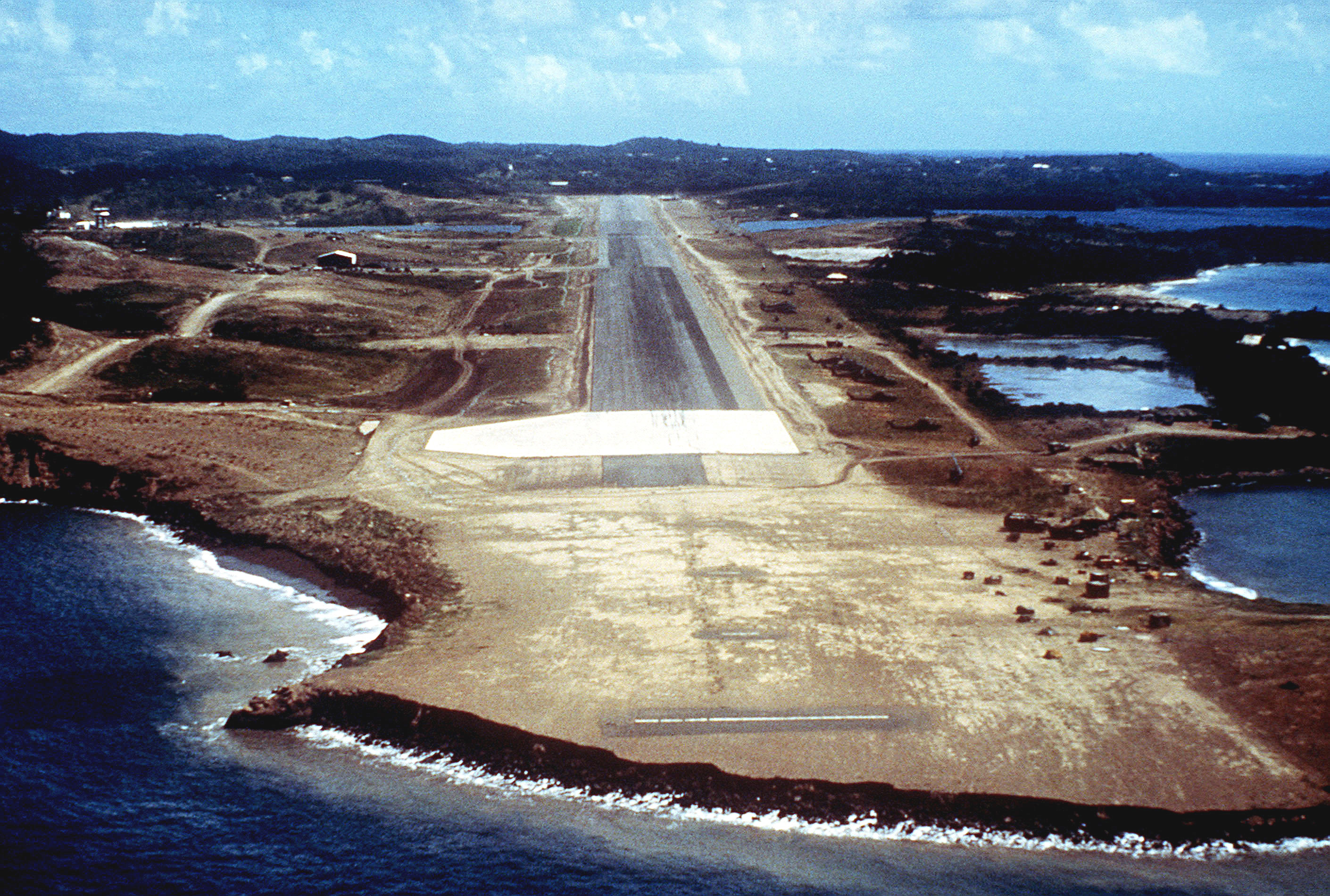 An aerial view of the approach to Point Salines Airport, taken during Operation URGENT FURY