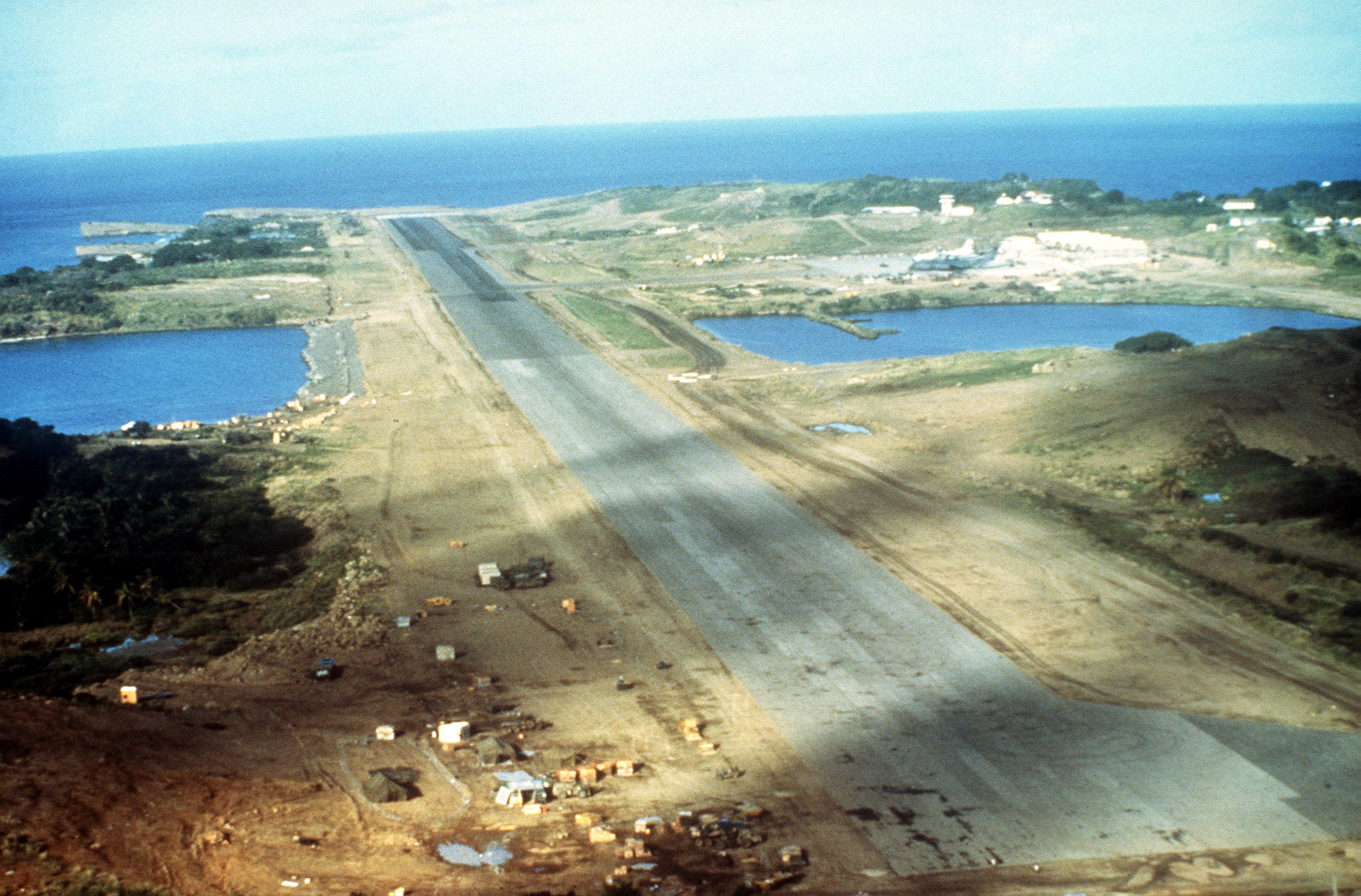 An aerial view of Point Salines Airport and runway during Operation URGENT FURY
