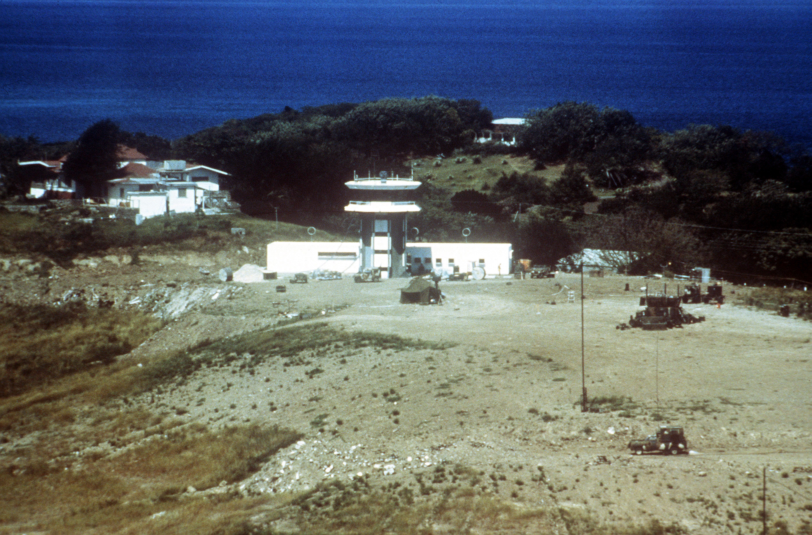 An aerial view of the control tower at Point Salines Airport taken during Operation URGENT FURY