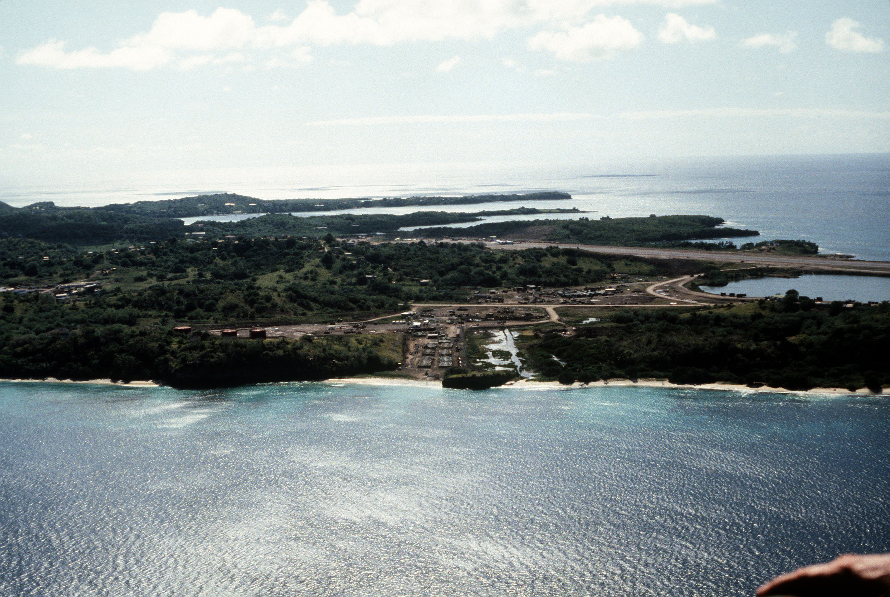 An aerial view of Point Salines Airport during Operation URGENT FURY