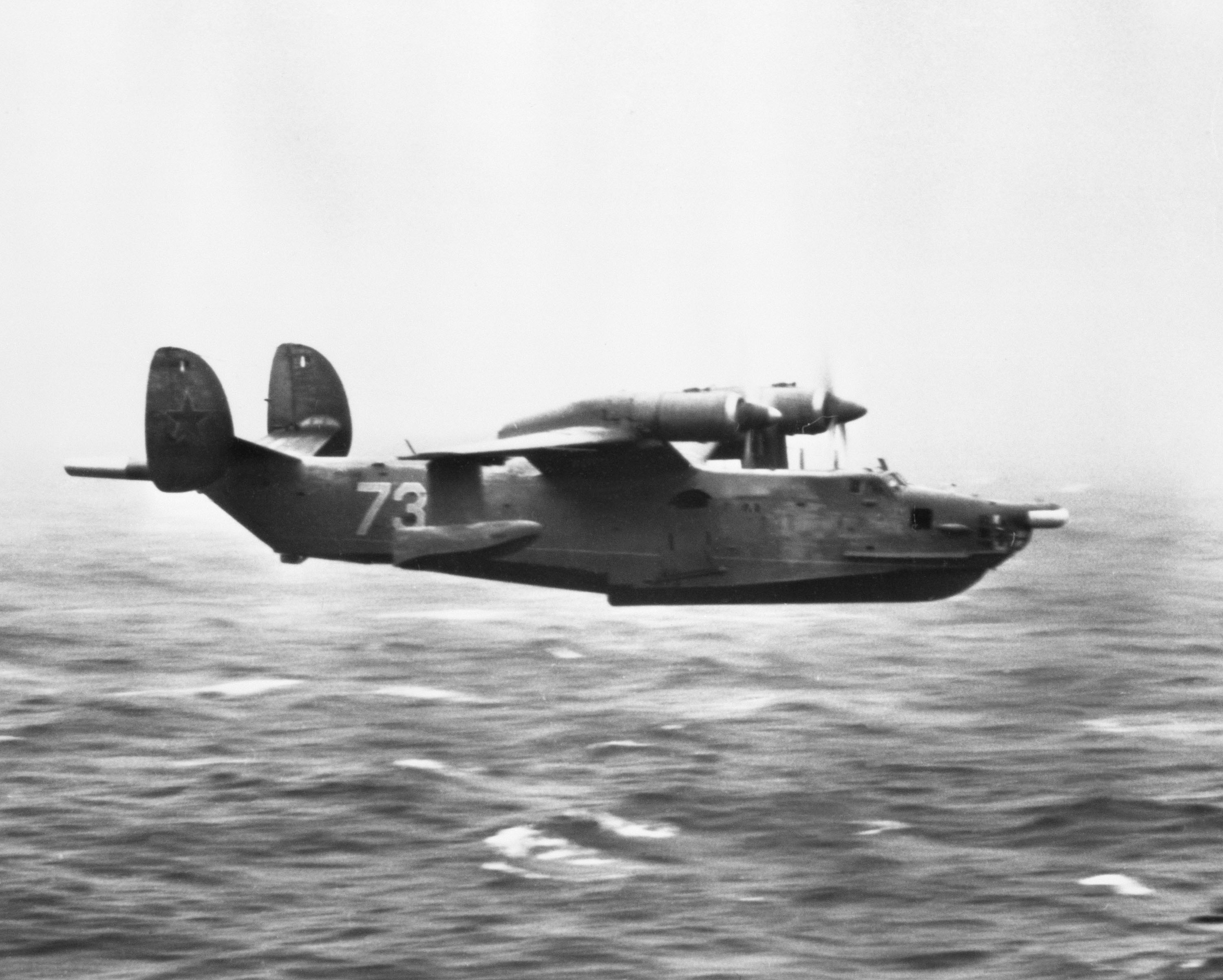 A right side view of a Soviet Be-12 Mail patrol/anti-submarine warfare aircraft in flight