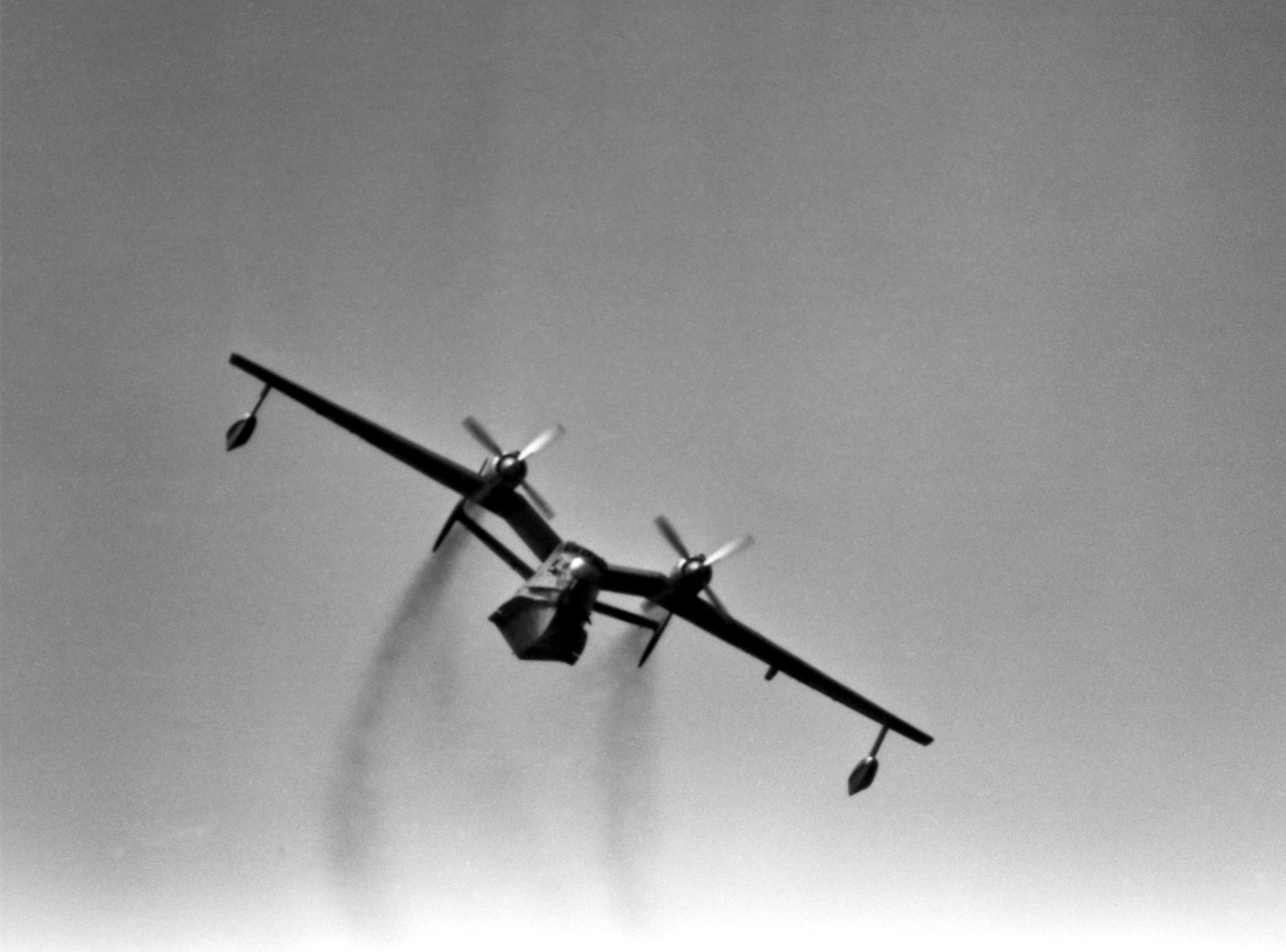 A front view of a Soviet Be-12 Mail patrol/anti-submarine warfare aircraft in flight
