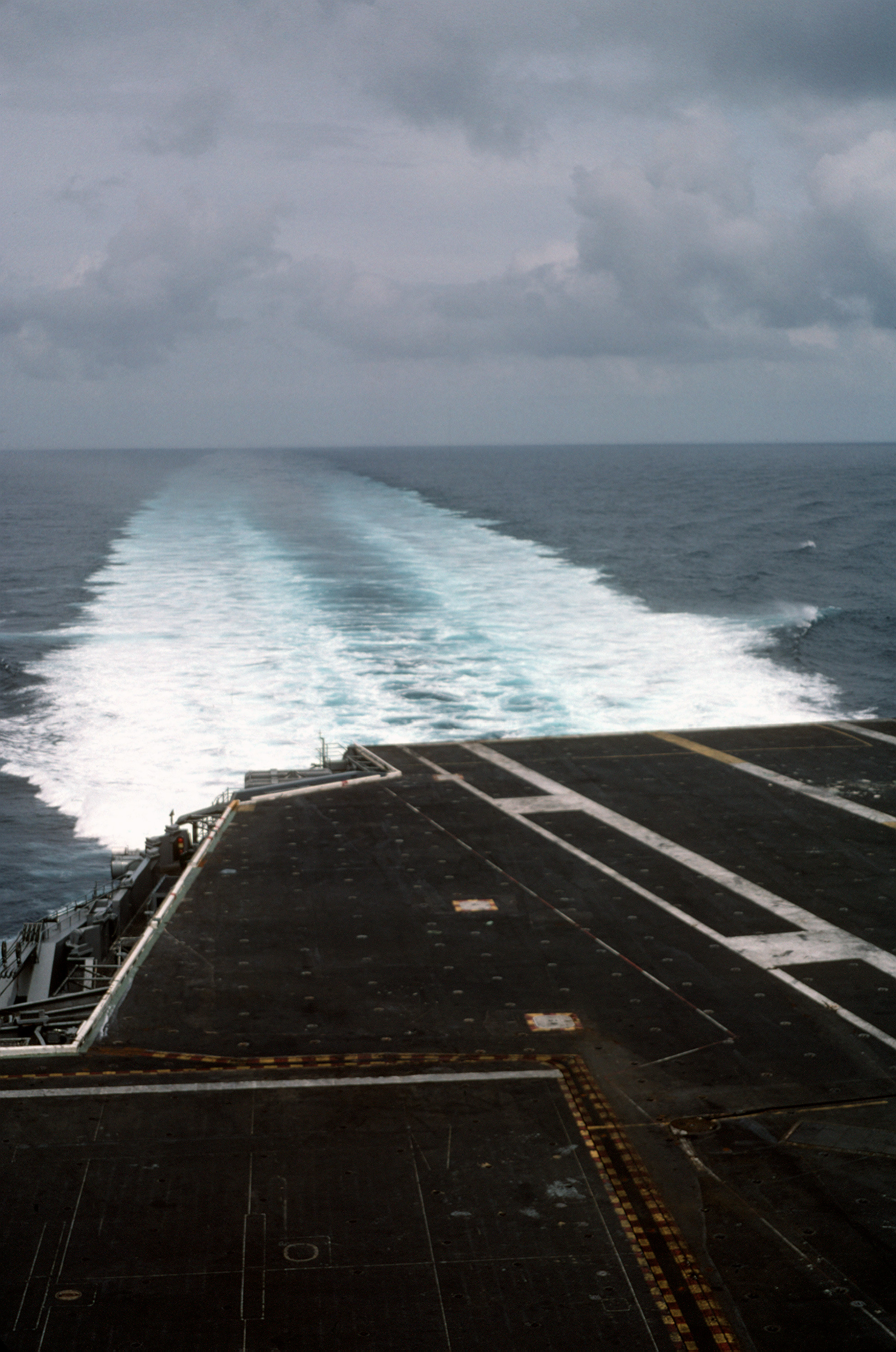 A view of the wake left by the nuclear-powered aircraft carrier USS DWIGHT D. EISENHOWER (CVN 69) during full-powered trials