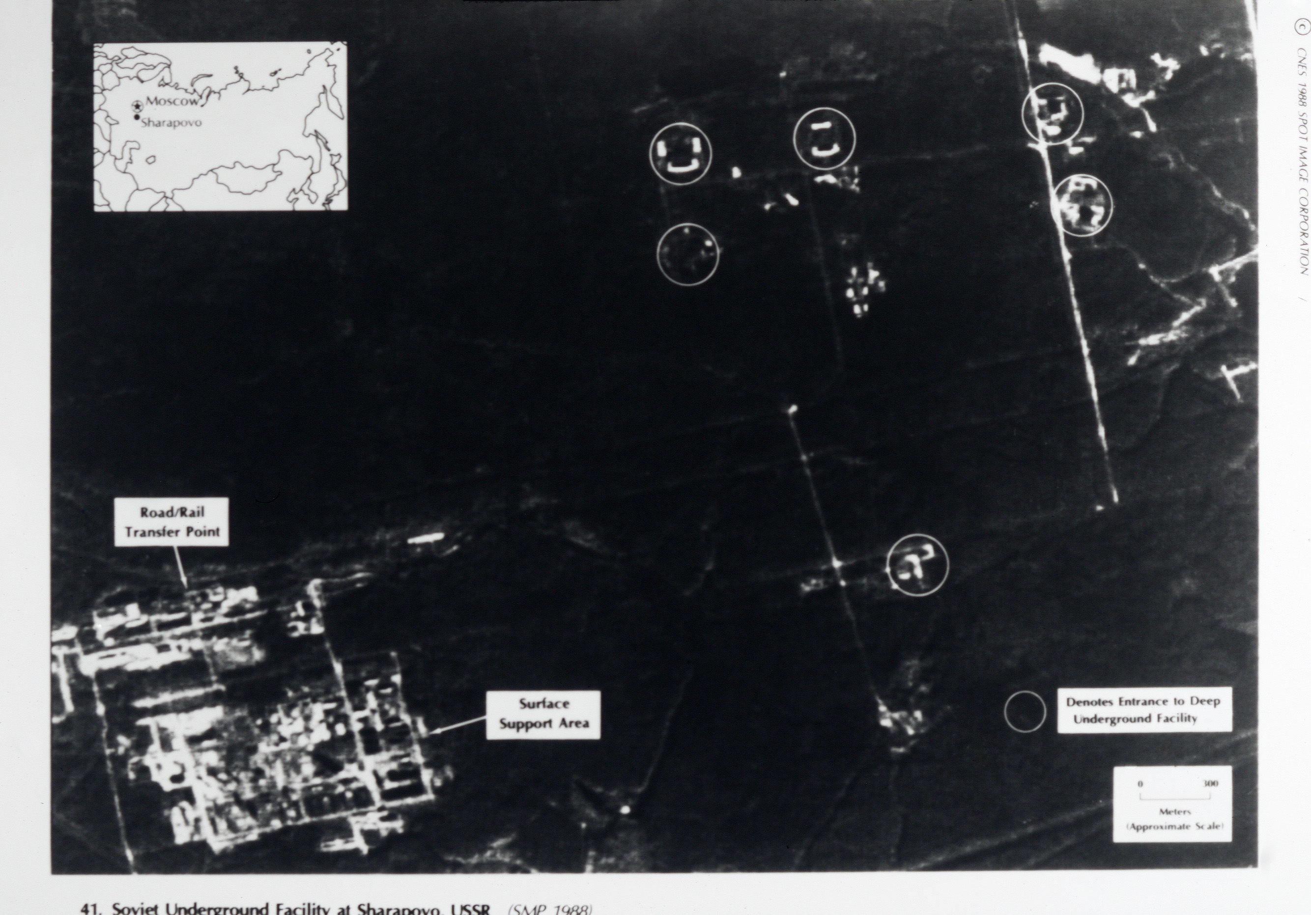 An aerial view of surface installations at the Soviet underground facility at Sharapovo. Unlike some underground facilities which are relatively shallow and can accomodate thousands of people, the shelter at Sharapovo is deep and functions as a wartime relocation center for the Soviet National Command Authority. Note: Copyright CNES 1988. SPOT Image Corporation