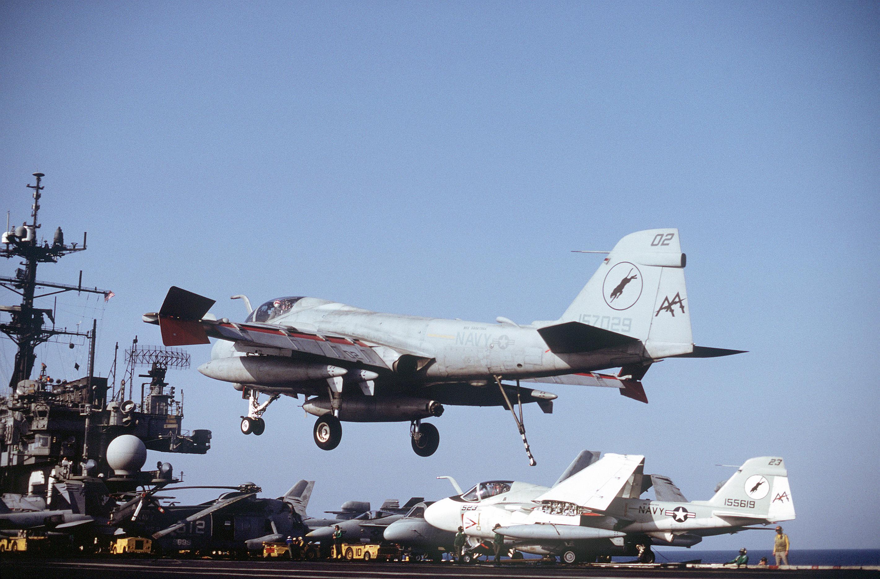 An Attack Squadron 35 (VA-35) A-6E Intruder aircraft lands on the aircraft carrier USS SARATOGA (CV-60)