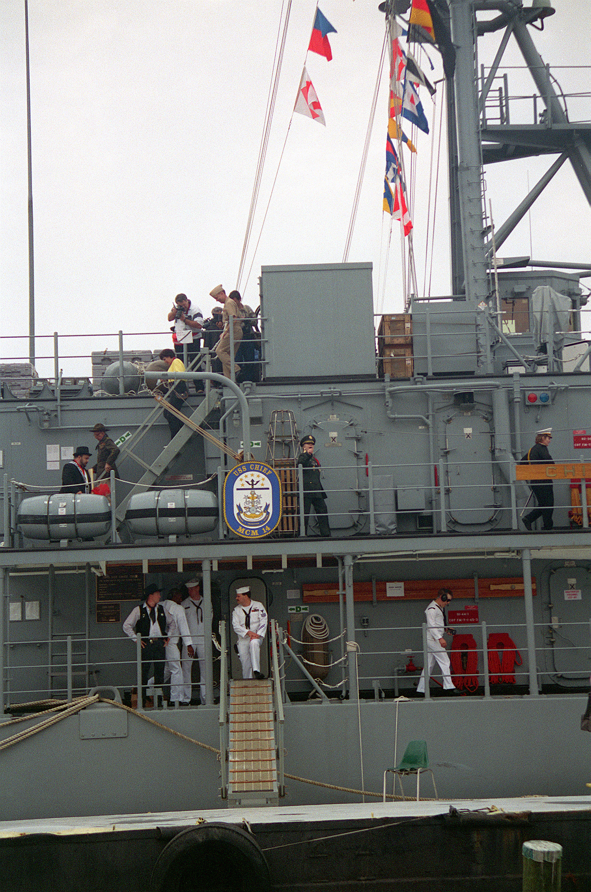 A starboard side view of the gangway to the mine counter measures ship USS CHIEF (MCM-14) during open house tours as part of Tamps's annual Gasparilla celebration; a mock pirate invasion of the city by the Ybor Navy