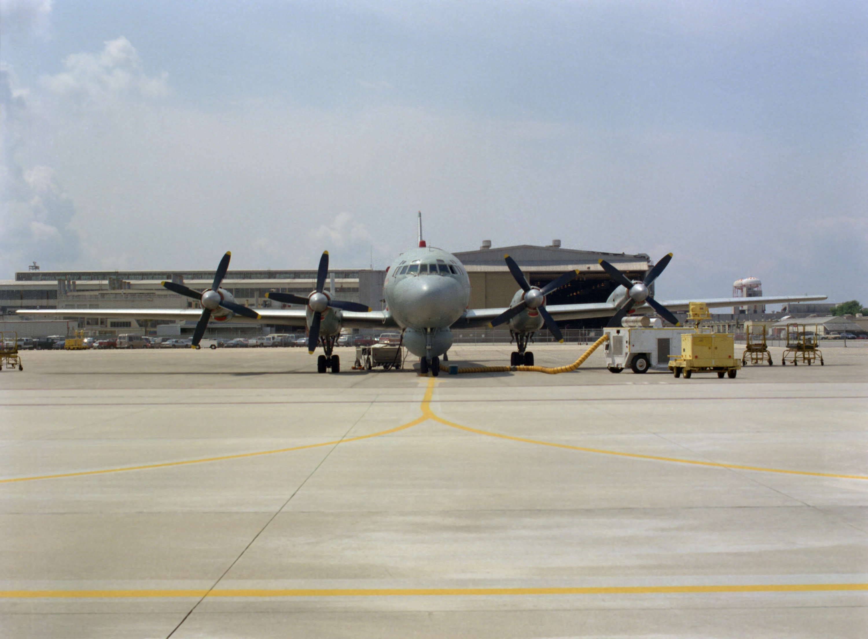 Head on view of a Russian IL-38 May anti-submarine warfare (ASW) patrol aircraft parked on the tarmac