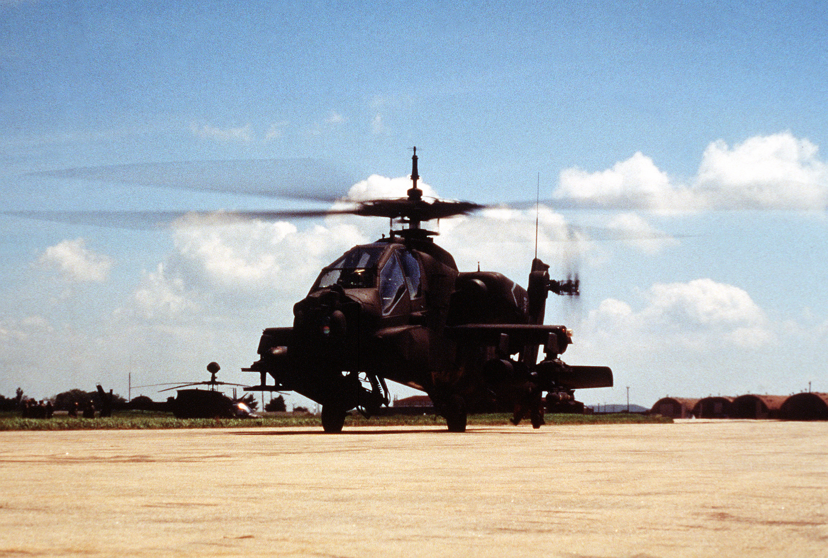 Left front view of an AH-64 Apache helicopter at Chick Do Island