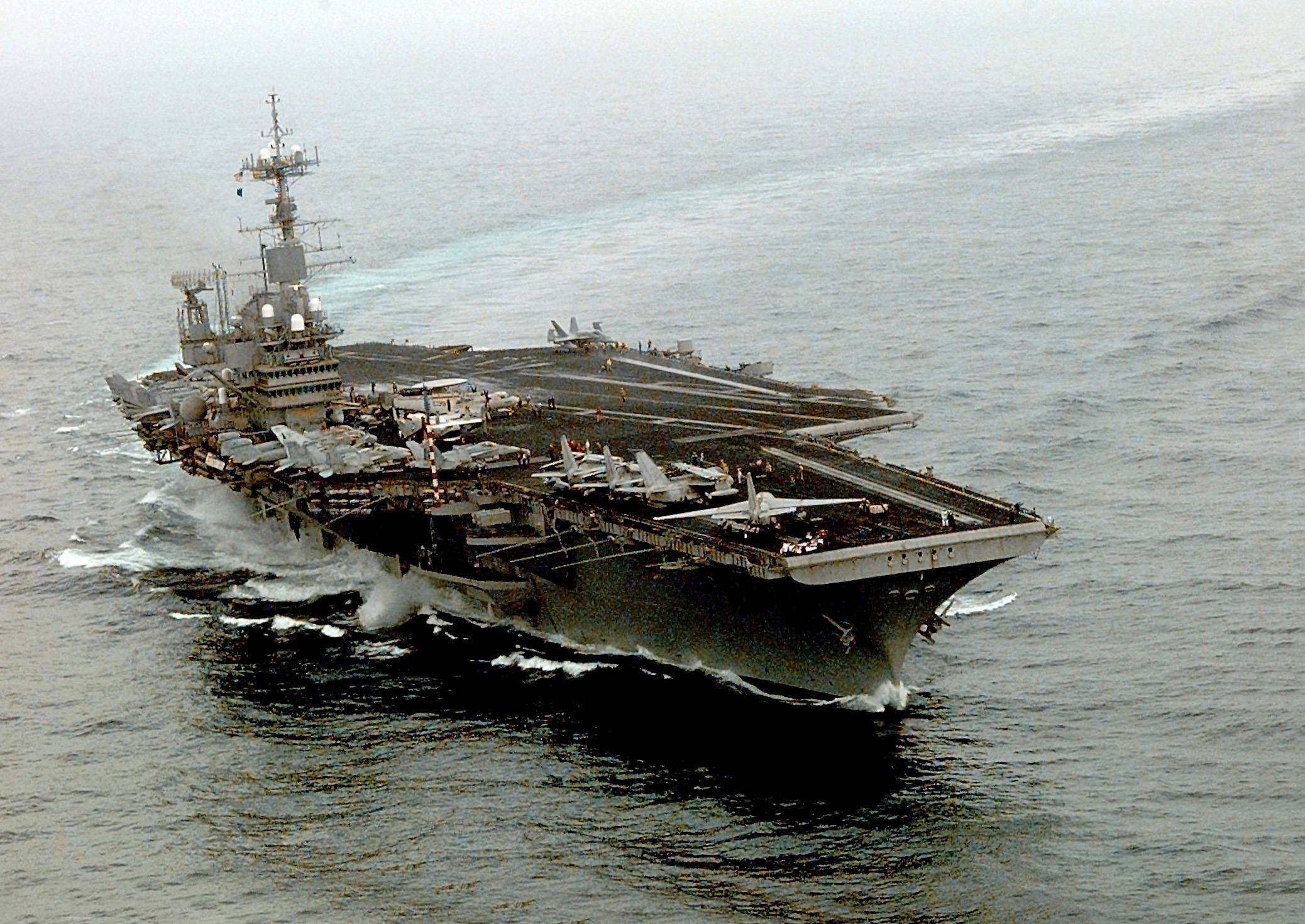 The U.S. Navy aircraft carrier USS INDEPENDENCE (CV 62) patrols the waters of the Persian Gulf in support of Operation Southern Watch