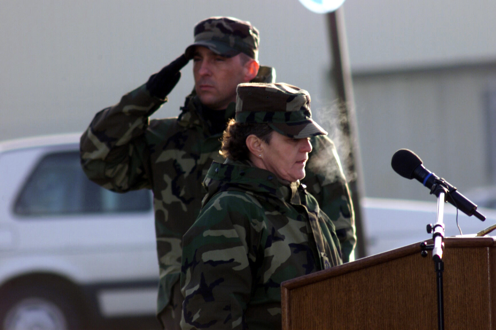 SENIOR MASTER Sergeant (SMSGT) Dolores Witt, 52nd Equipment Maintenance Squadron (EMS), sings the German and American National Anthems during the 52d Fighter Wing, Spangdahlem Air Base, Germany, Remembrance Ceremony
