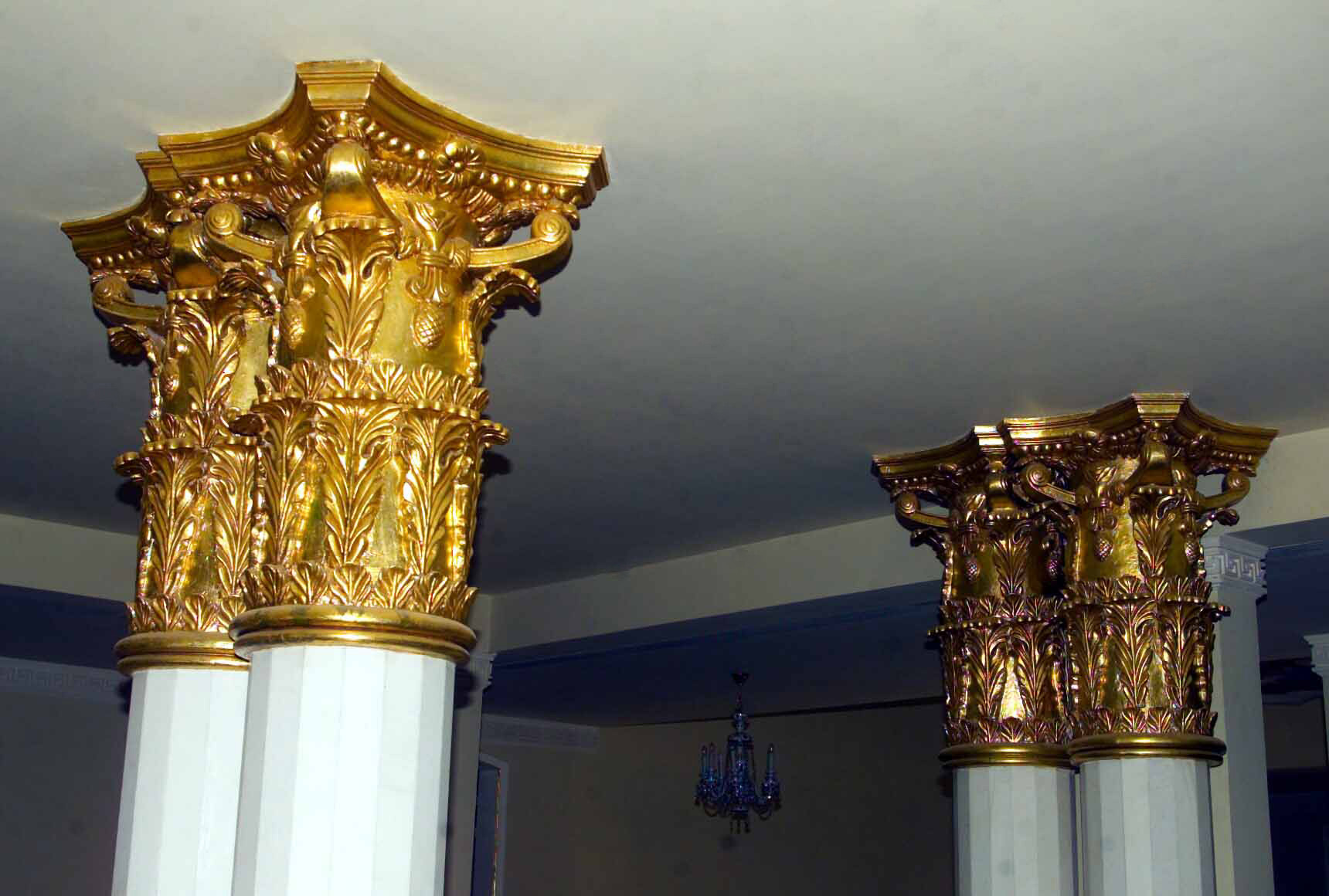 Gold leaf pillars found inside one of Saddam Hussein's Palaces in Baghdad during Operation IRAQI FREEDOM