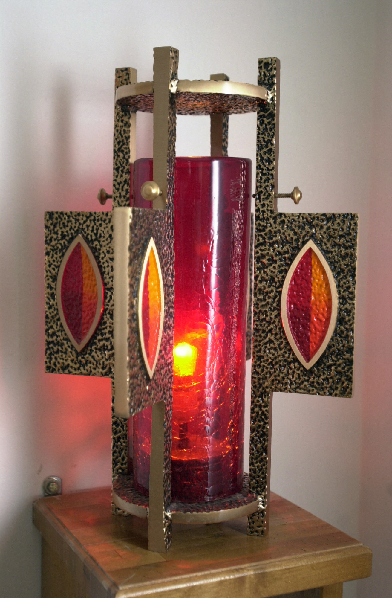 A view of the Sanctuary Lamp located inside the Base Chapel, in Area One at Aviano Air Base (AB), Italy. The Lamp is a symbol to some Christians of God's eternal light and love, it is kept in the Blessed Sacrament room and the lamp's flame is never extinguished
